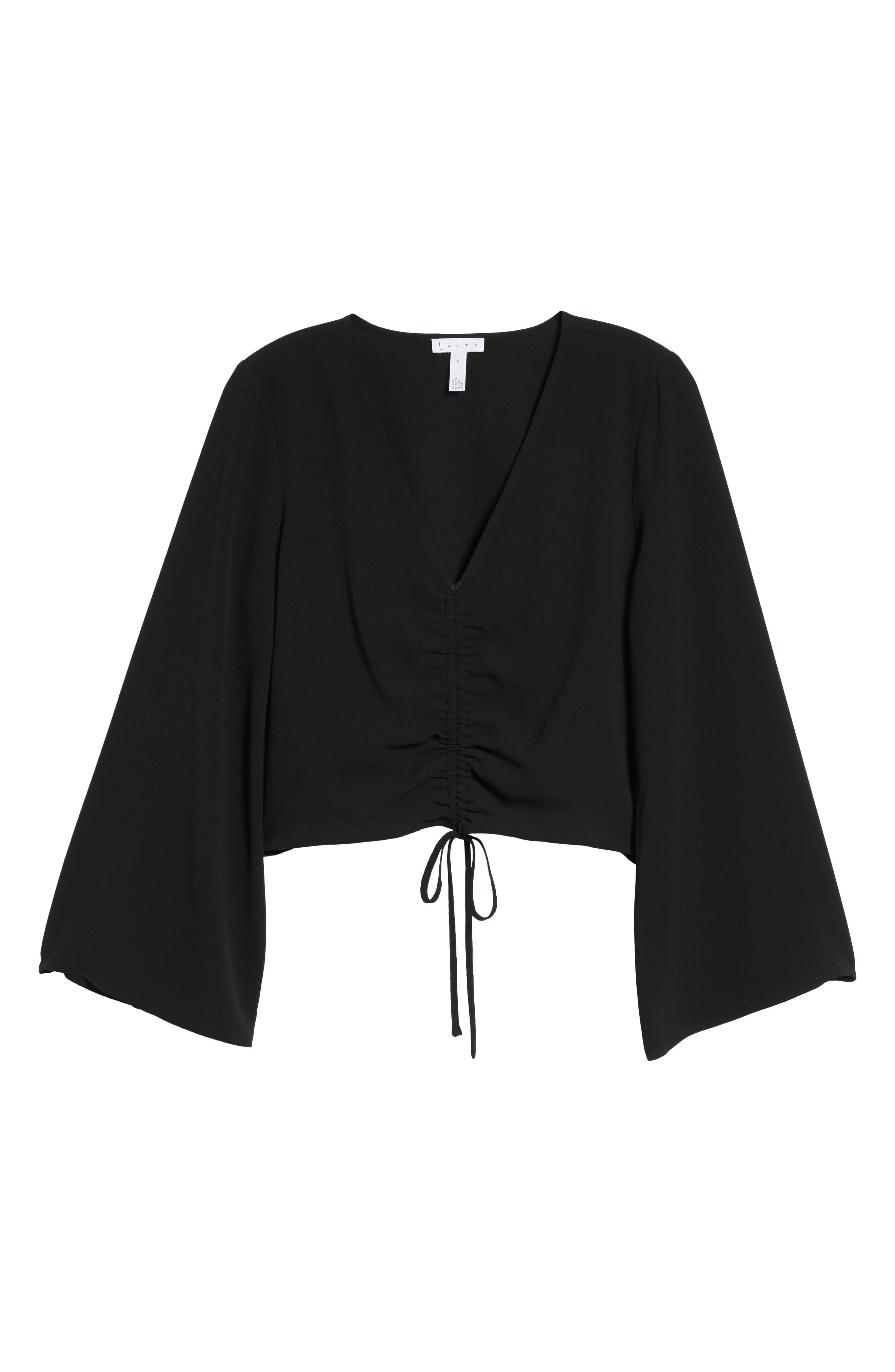 Ruched Front Top,                             Alternate thumbnail 7, color,                             001