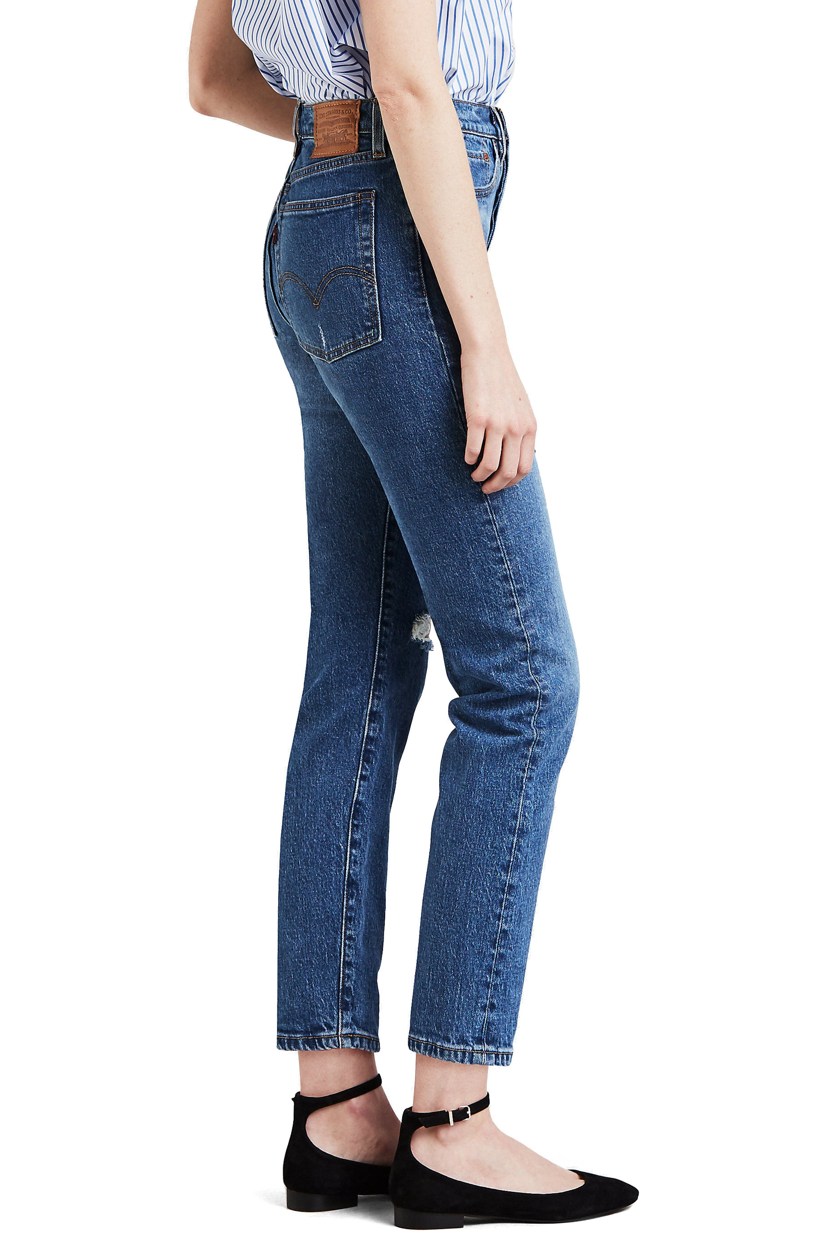 Wedgie Icon Fit Ripped High Waist Ankle Jeans,                             Alternate thumbnail 3, color,                             HIGHER LOVE