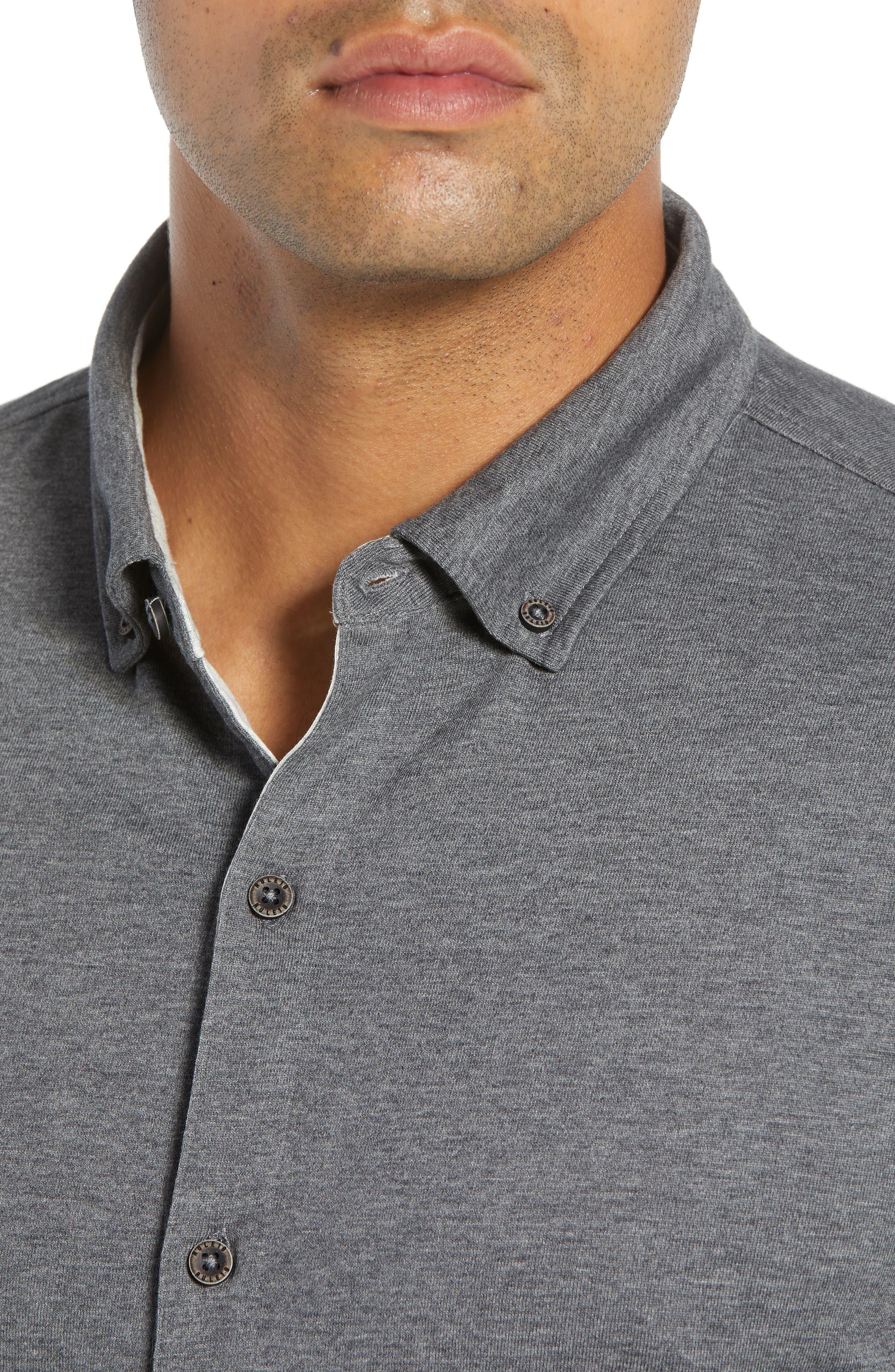 Rule 18 Brushed Regular Fit Knit Sport Shirt,                             Alternate thumbnail 4, color,                             020