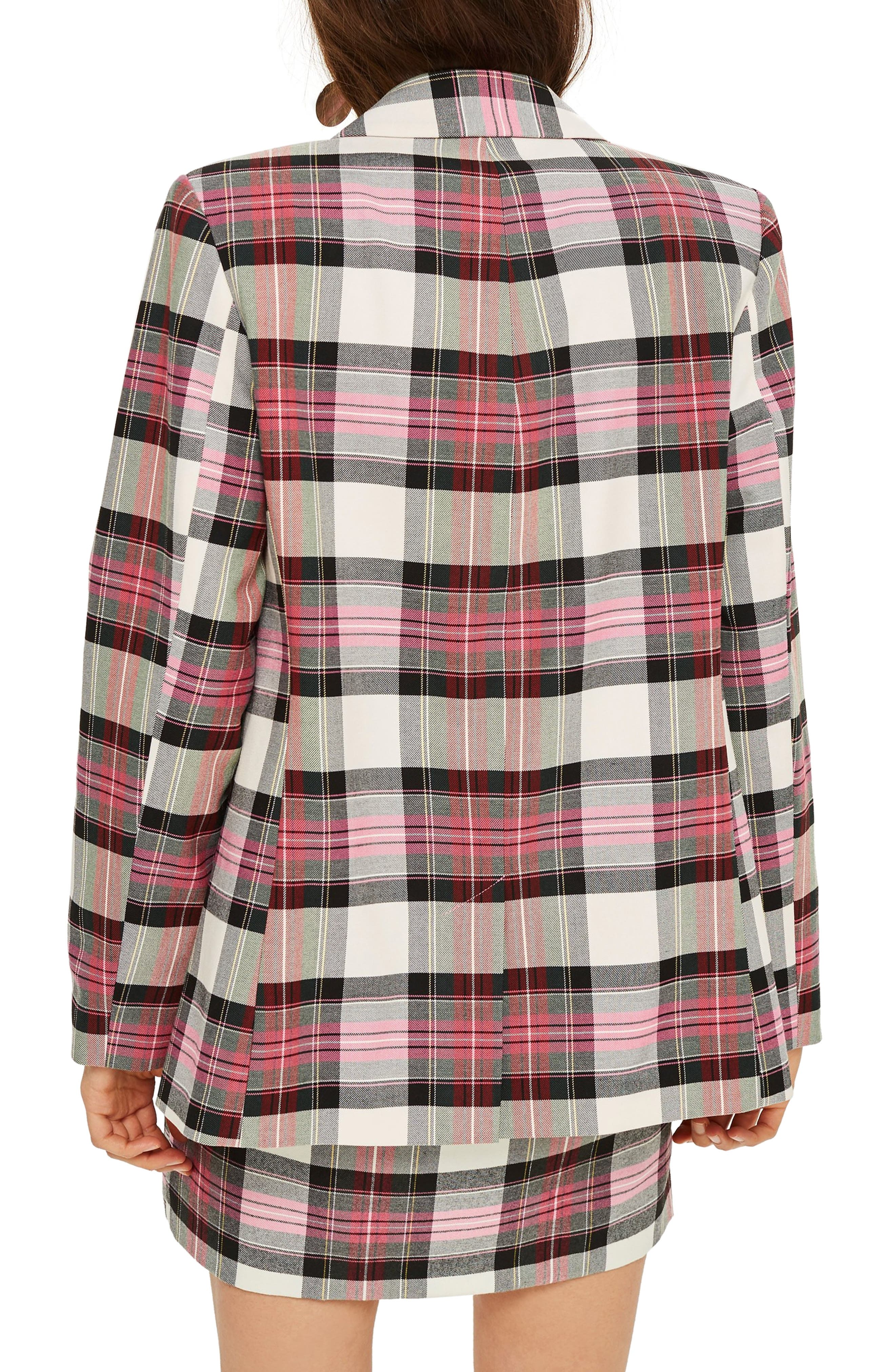 Tartan Double Breasted Jacket,                             Alternate thumbnail 2, color,                             PINK MULTI