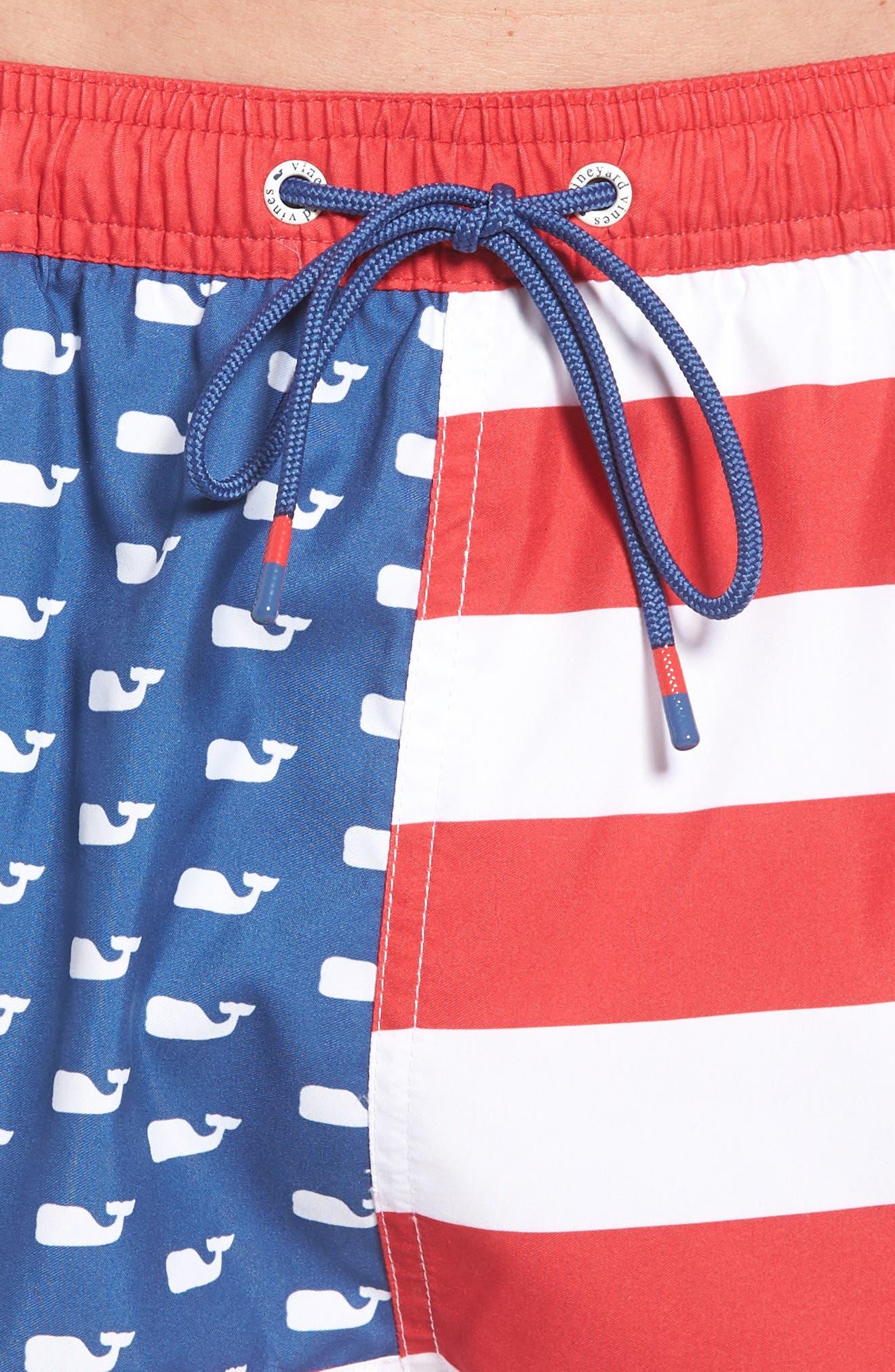 Chappy USA Flag Swim Trunks,                             Alternate thumbnail 4, color,                             461