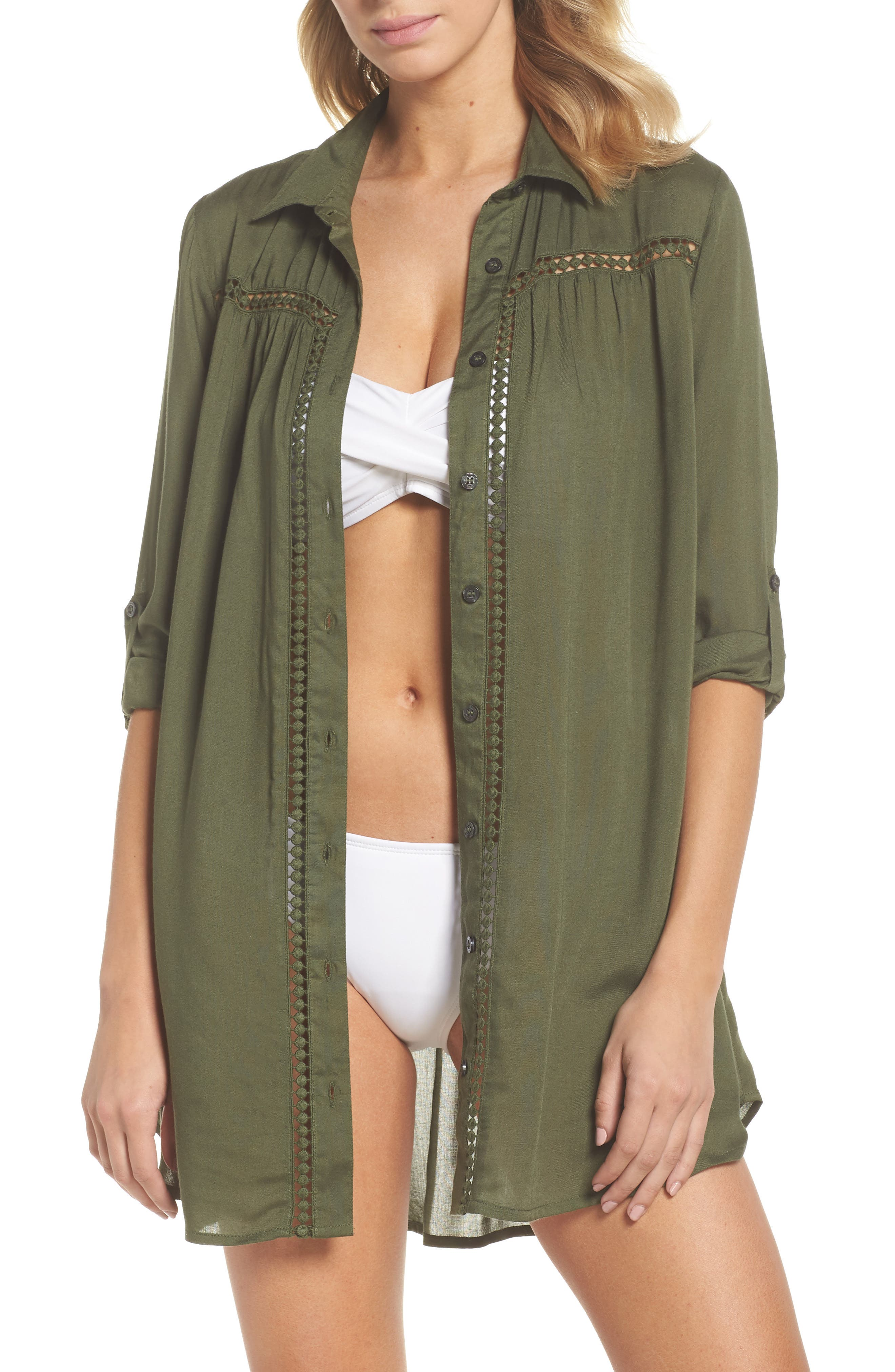 Tommy Bahama Crochet Boyfriend Shirt Cover-Up, Green