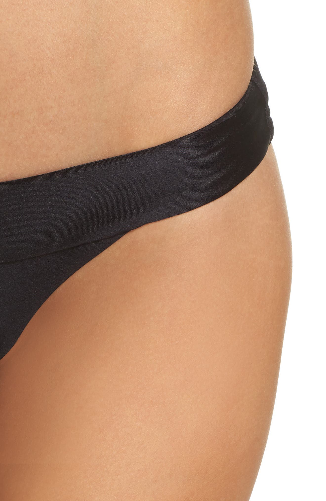 Tubular Solid Bikini Bottoms,                             Alternate thumbnail 4, color,                             BLACK