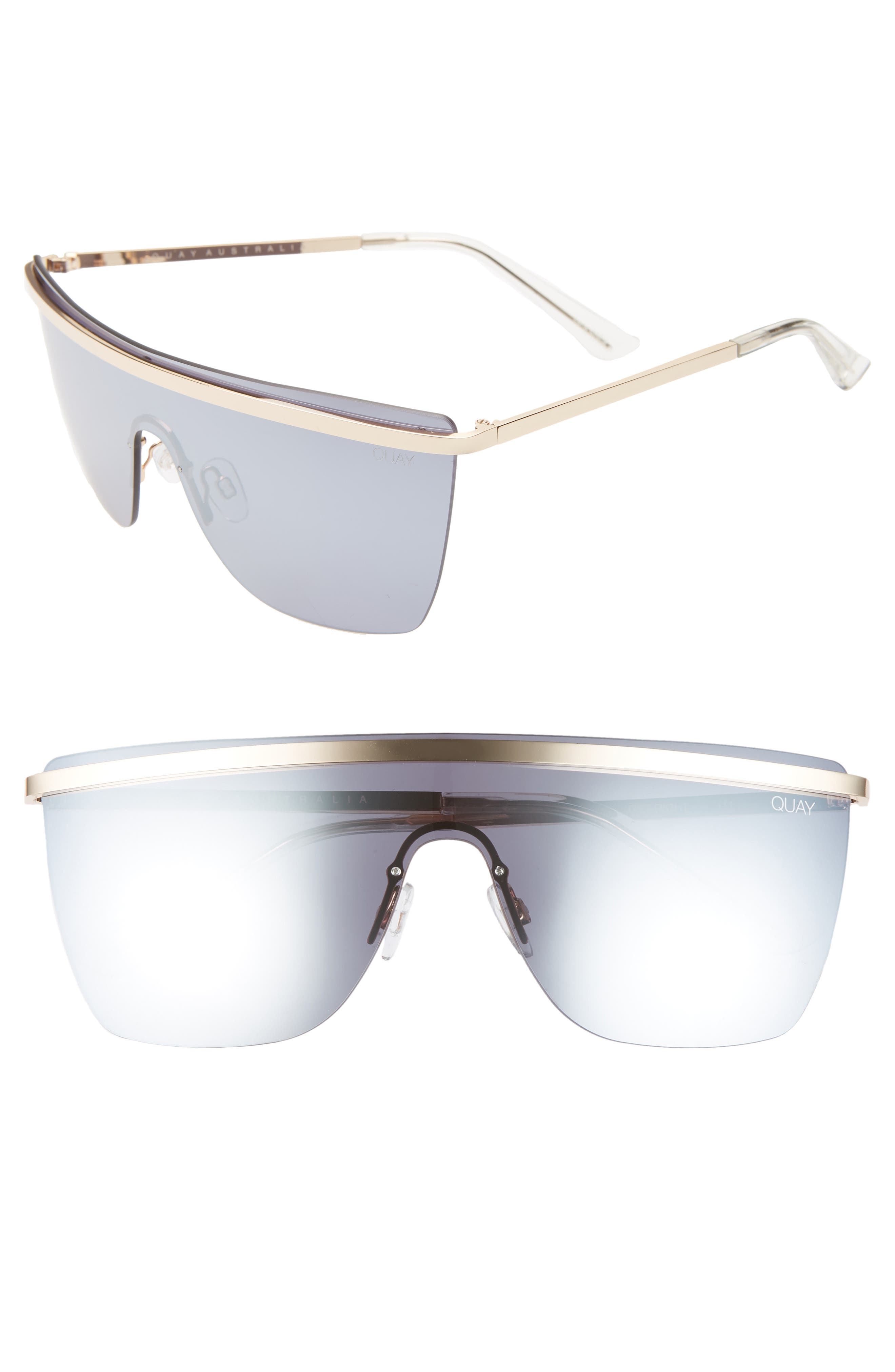Quay Sunglasses X JLO GET RIGHT 54MM FLAT TOP SHIELD SUNGLASSES - GOLD / SILVER