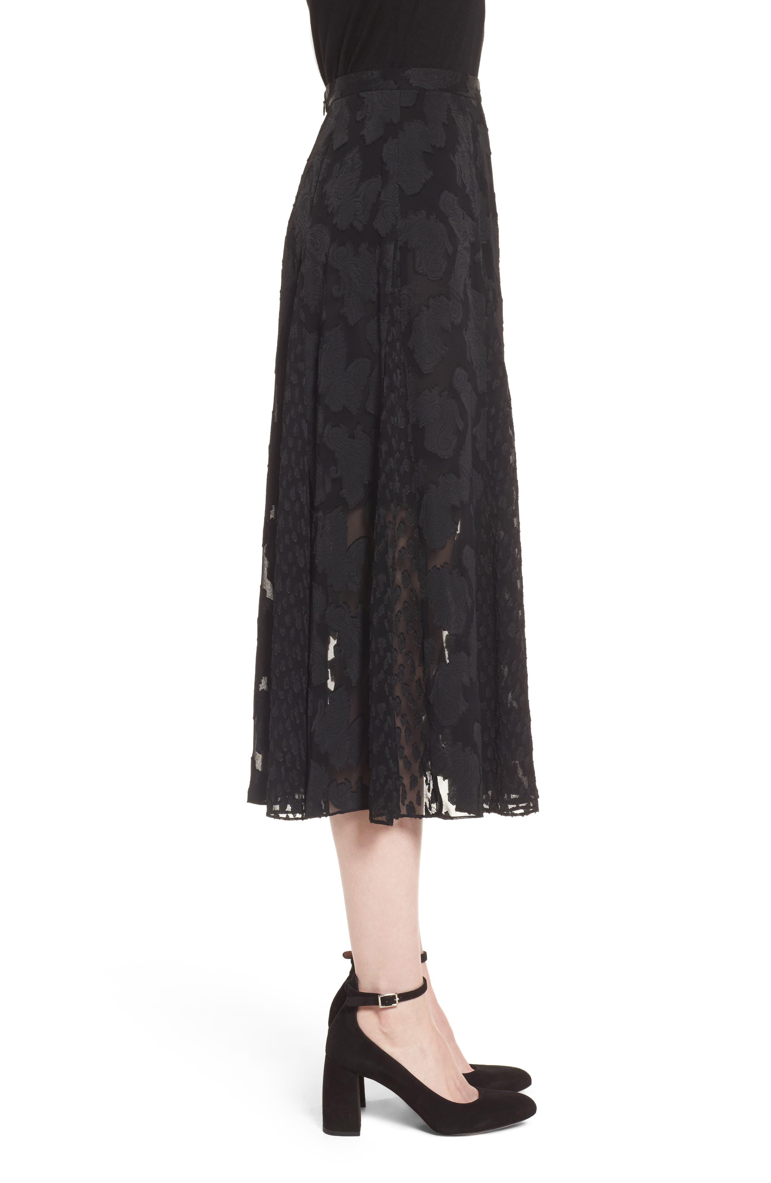Clip Jacquard Godet Skirt,                             Alternate thumbnail 5, color,