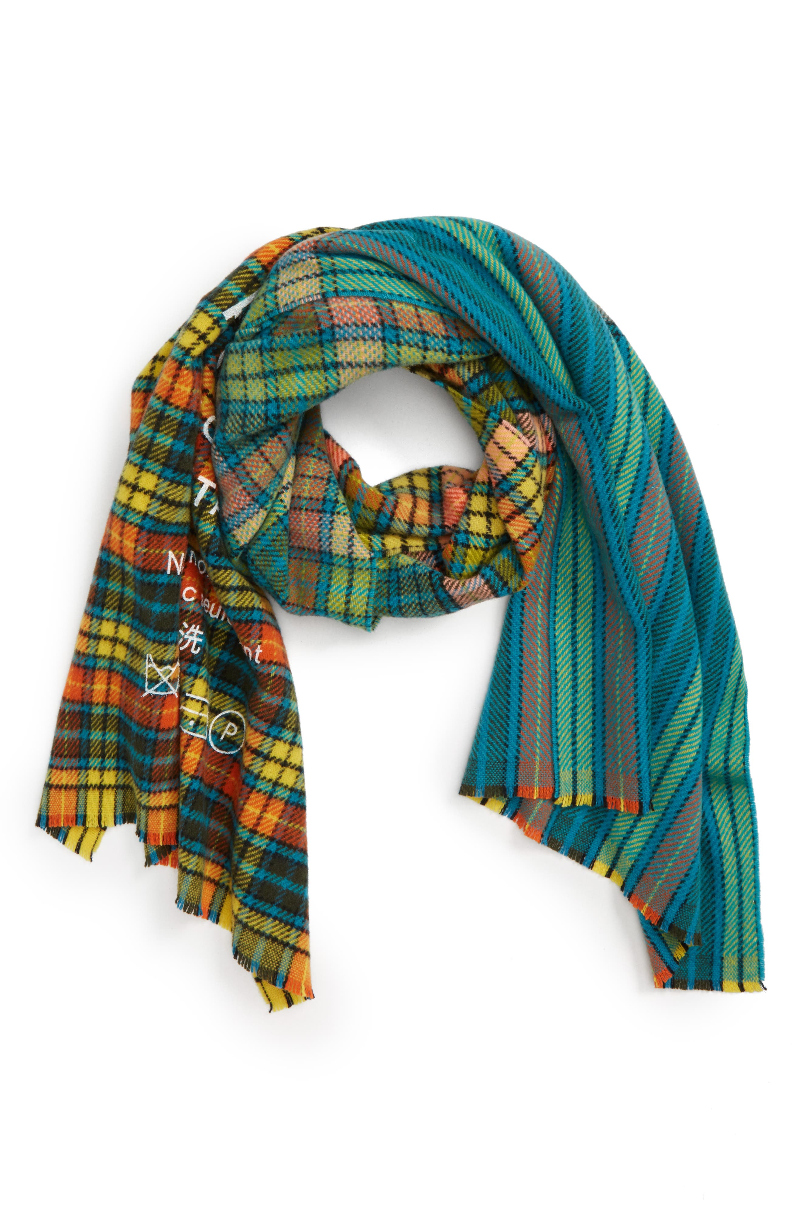 Check Wool Scarf,                             Alternate thumbnail 2, color,                             MID BLUE/YELLOW CHECK