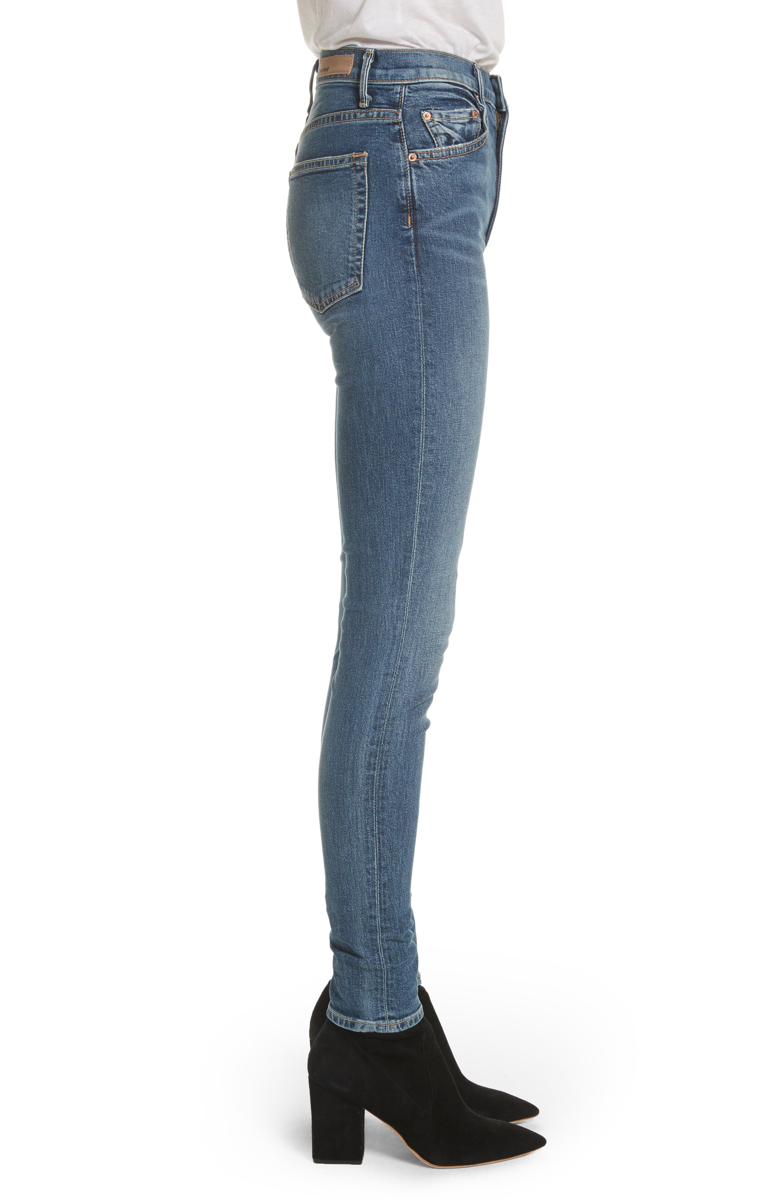 Kendall Super Stretch High Waist Skinny Jeans,                             Alternate thumbnail 3, color,                             NO MORE TEARS