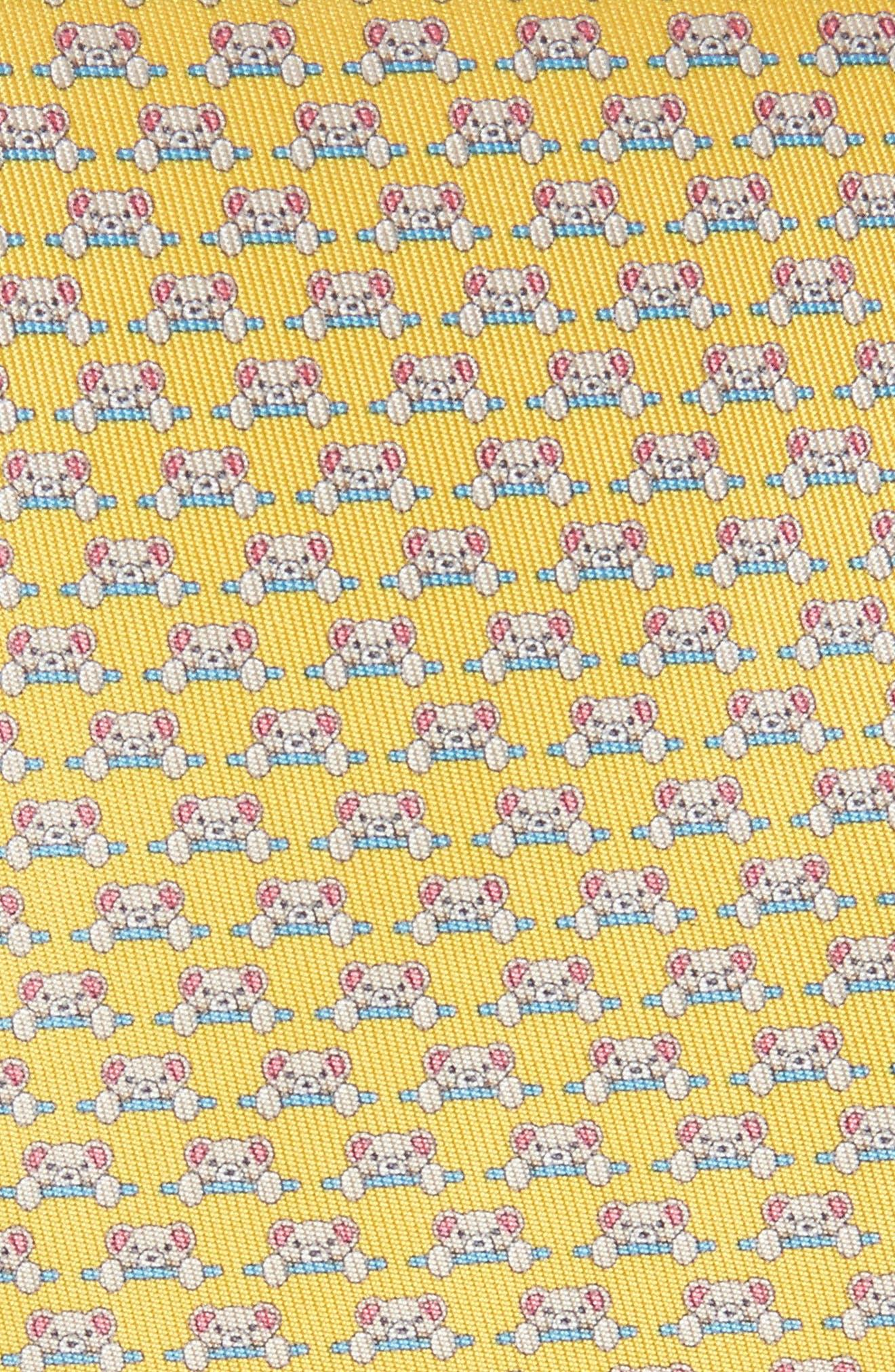 Dino Bear Print Silk Tie,                             Alternate thumbnail 8, color,