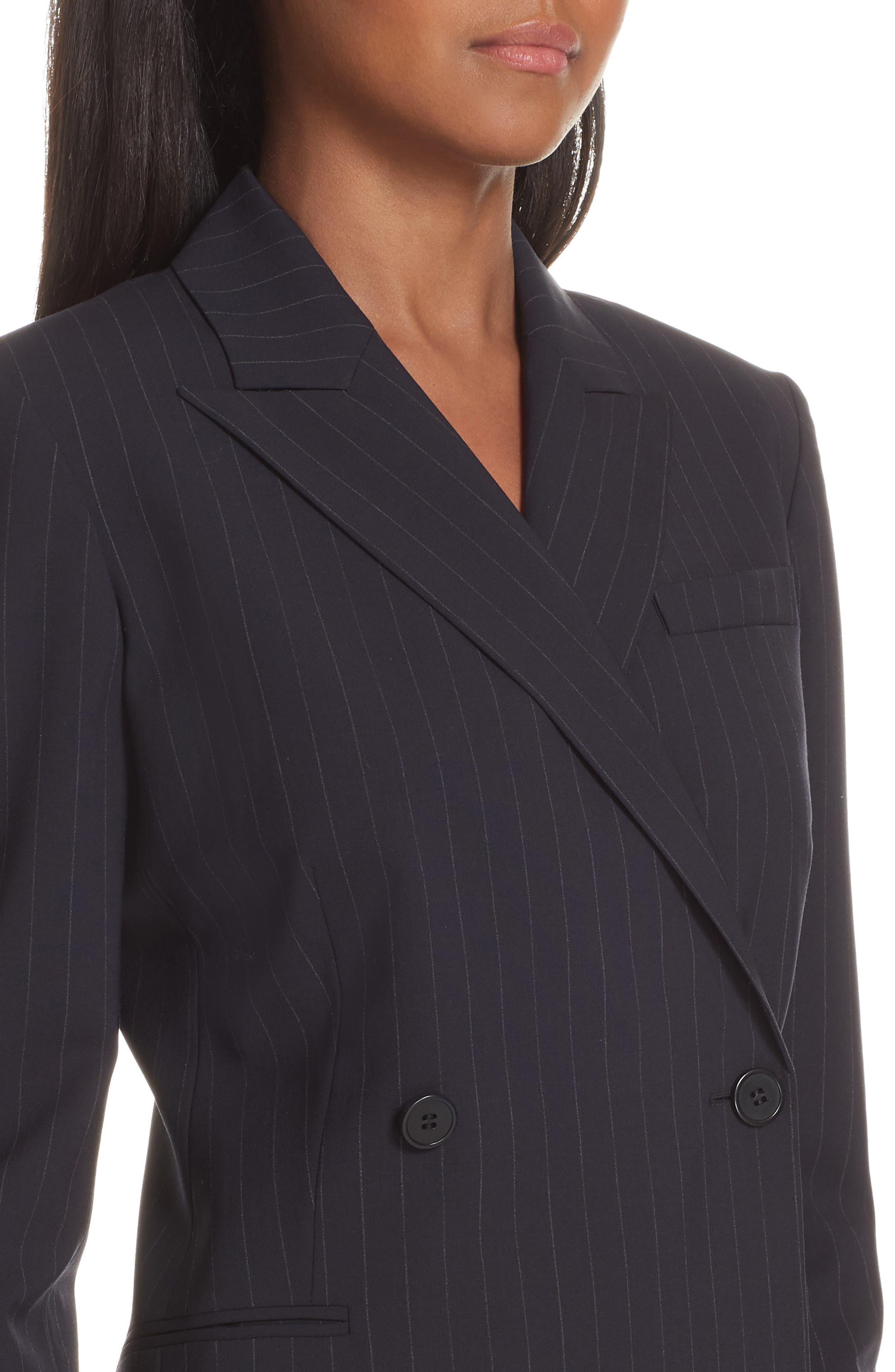 Pinstripe Blazer Dress,                             Alternate thumbnail 4, color,                             DEEP NAVY/ GREY