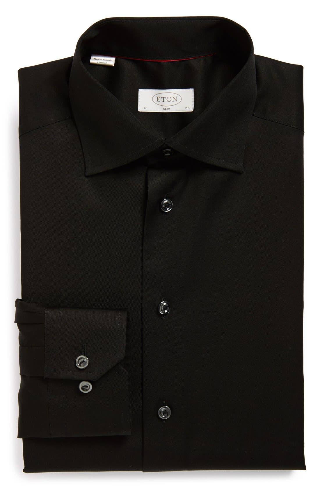 Slim Fit Twill Dress Shirt,                         Main,                         color, BLACK