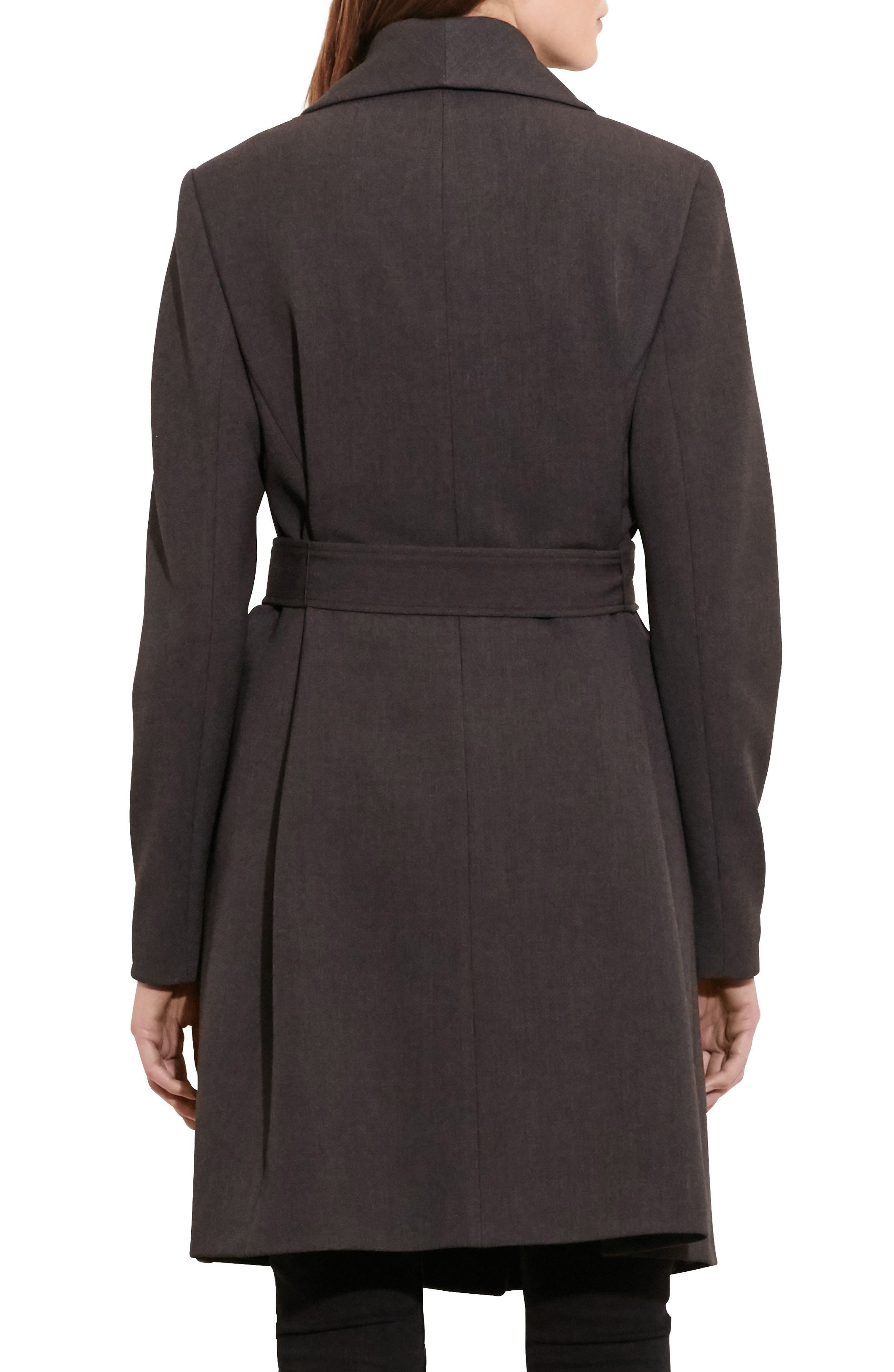 Belted Drape Front Coat,                             Alternate thumbnail 2, color,                             CHARCOAL