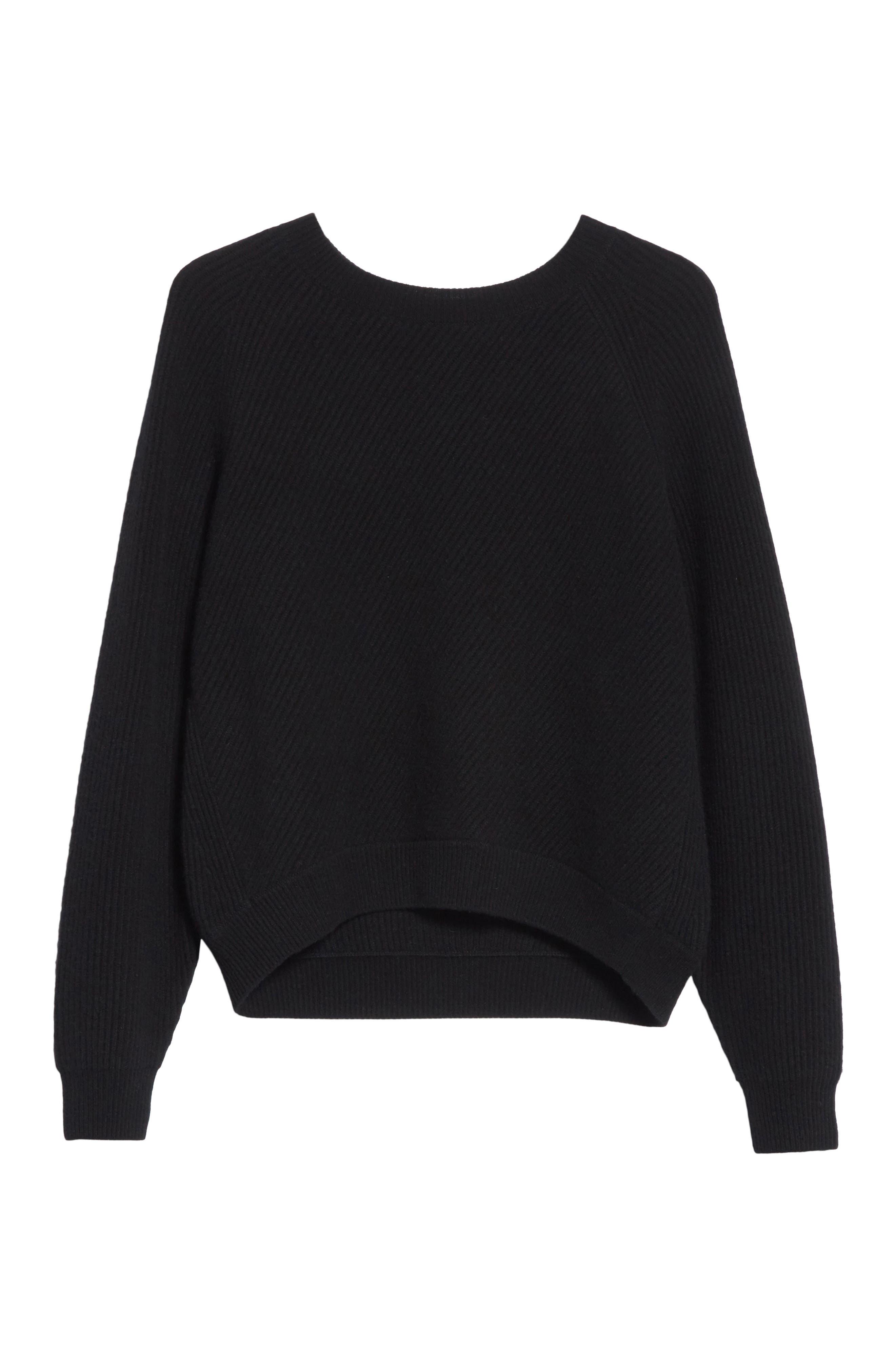 Diagonal Rib Wool & Cashmere Sweater,                             Alternate thumbnail 6, color,                             001