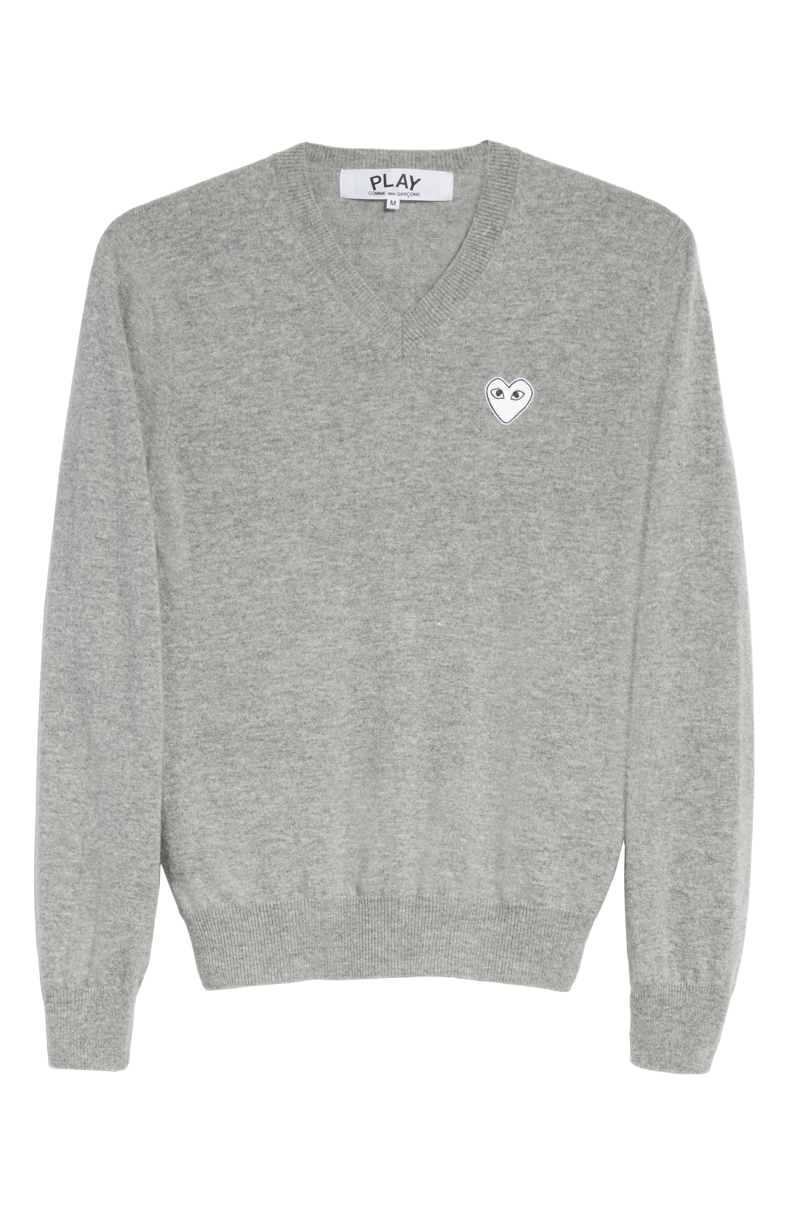 White Heart Wool V-Neck Sweater,                             Alternate thumbnail 6, color,                             LIGHT GREY