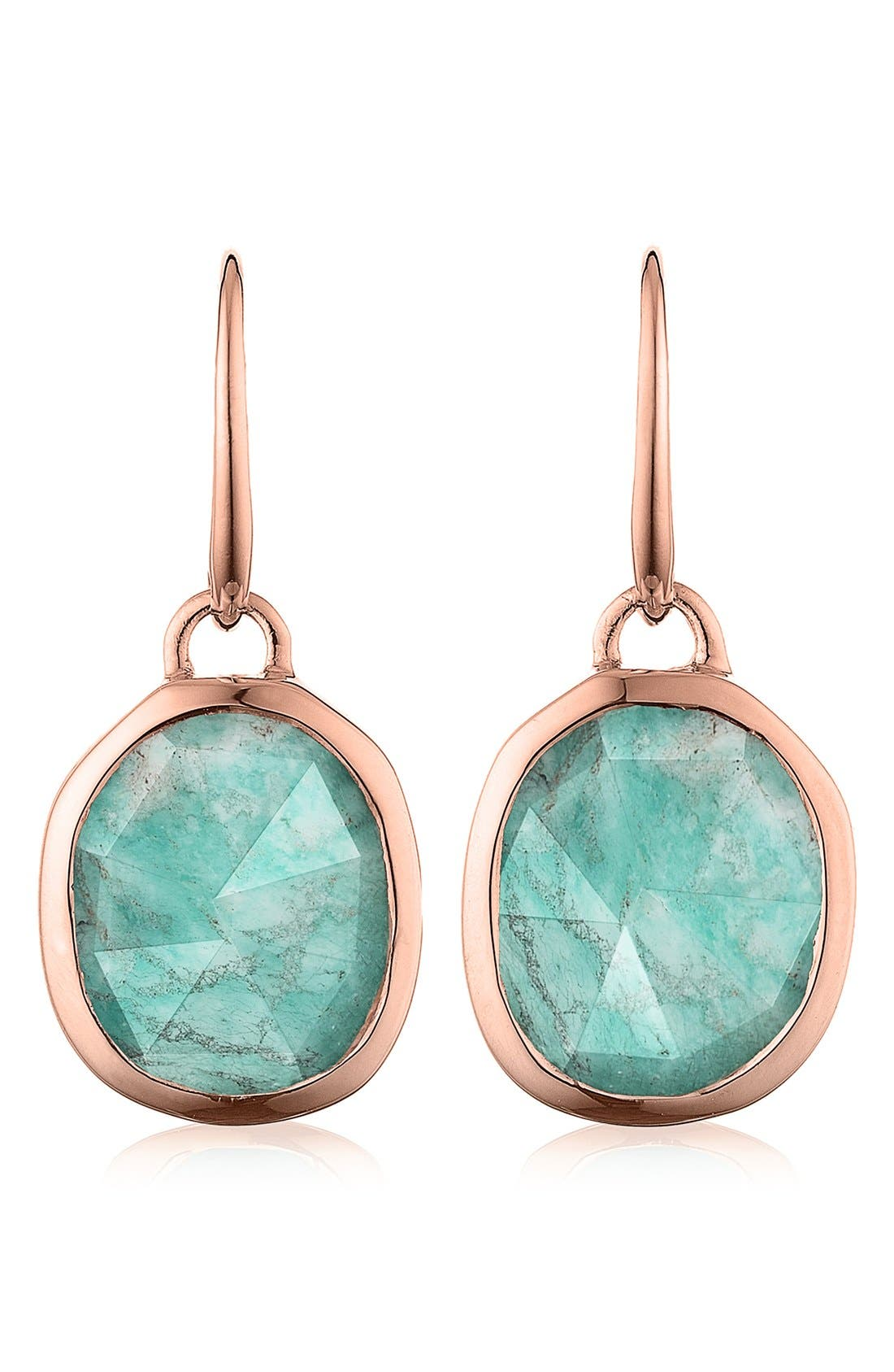 Siren Semiprecious Stone Drop Earrings,                             Main thumbnail 1, color,                             AMAZONITE/ ROSE GOLD