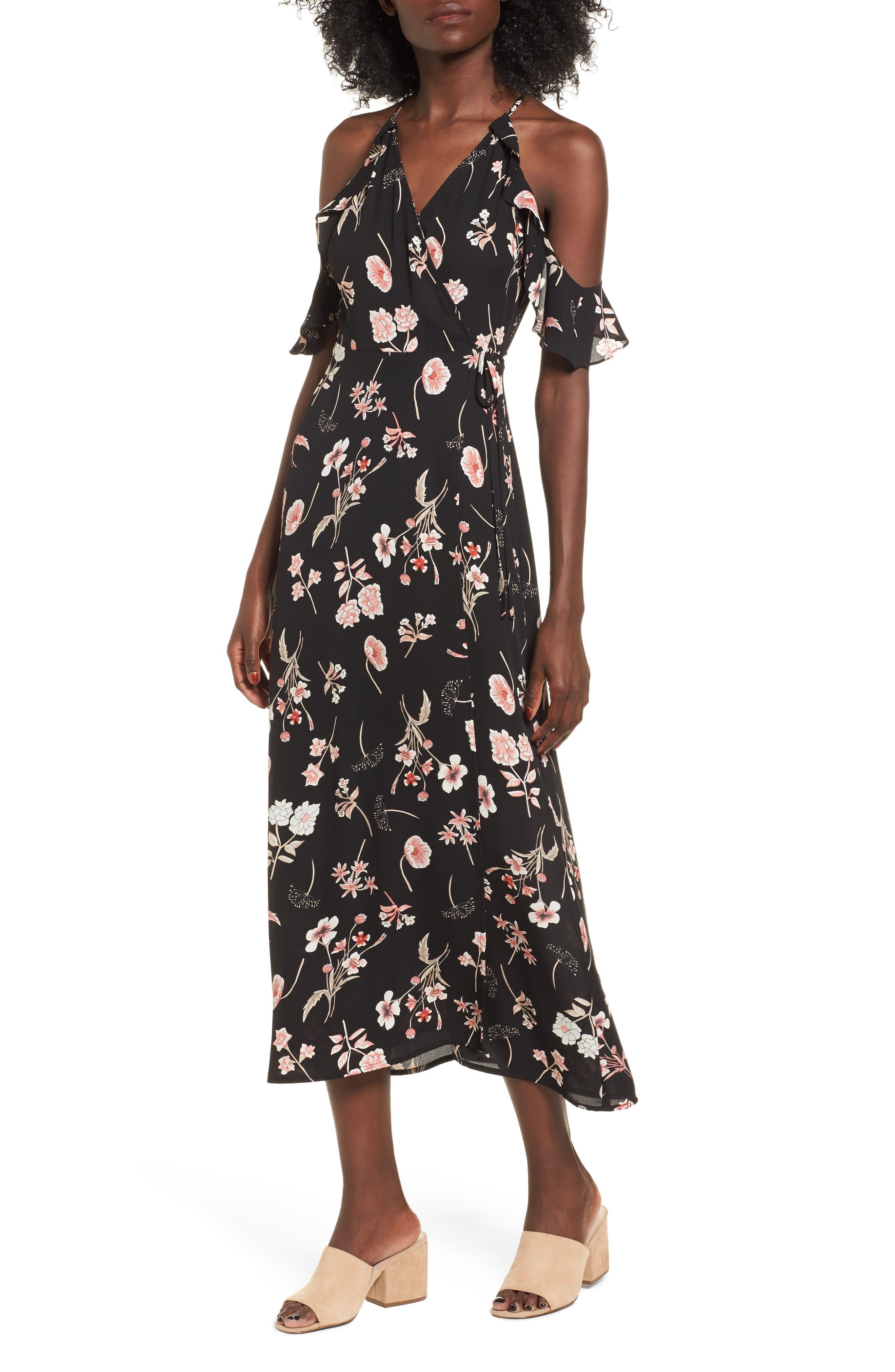 Floral Cold Shoulder Midi Dress,                             Main thumbnail 1, color,                             001