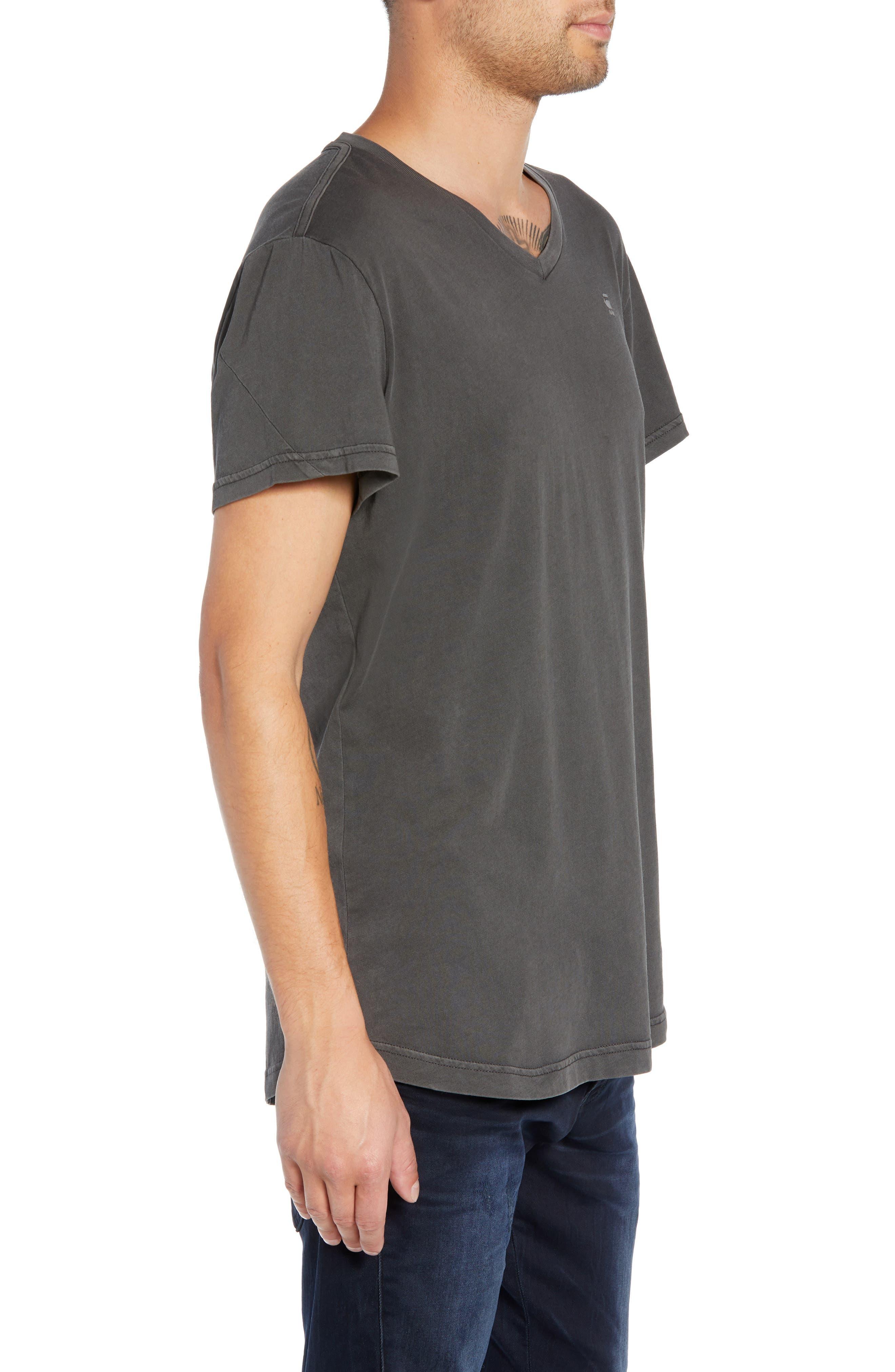 Starkton Solid V-Neck T-Shirt,                             Alternate thumbnail 3, color,                             DARK BLACK