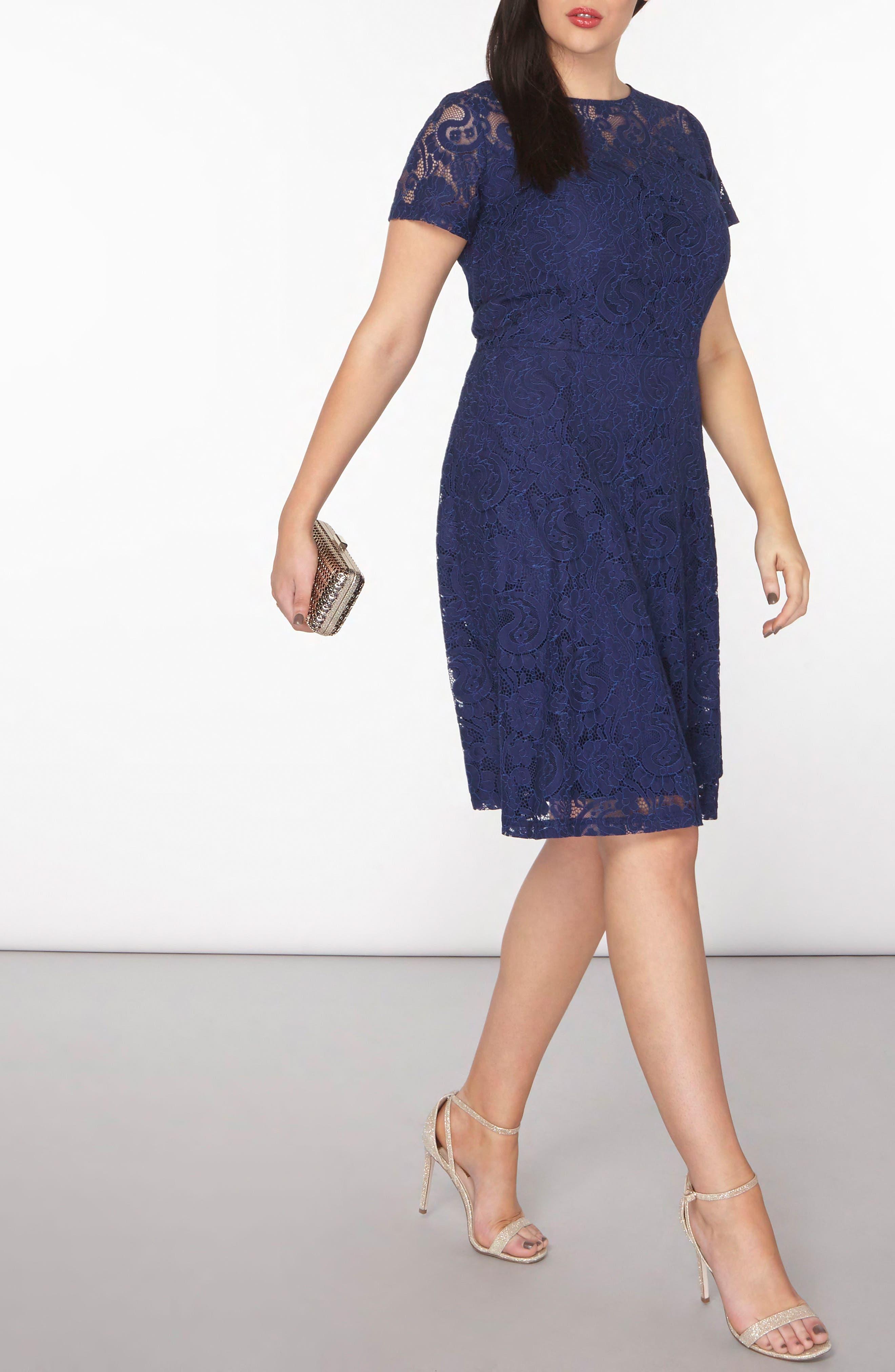 Lace Fit & Flare Dress,                             Alternate thumbnail 4, color,                             400