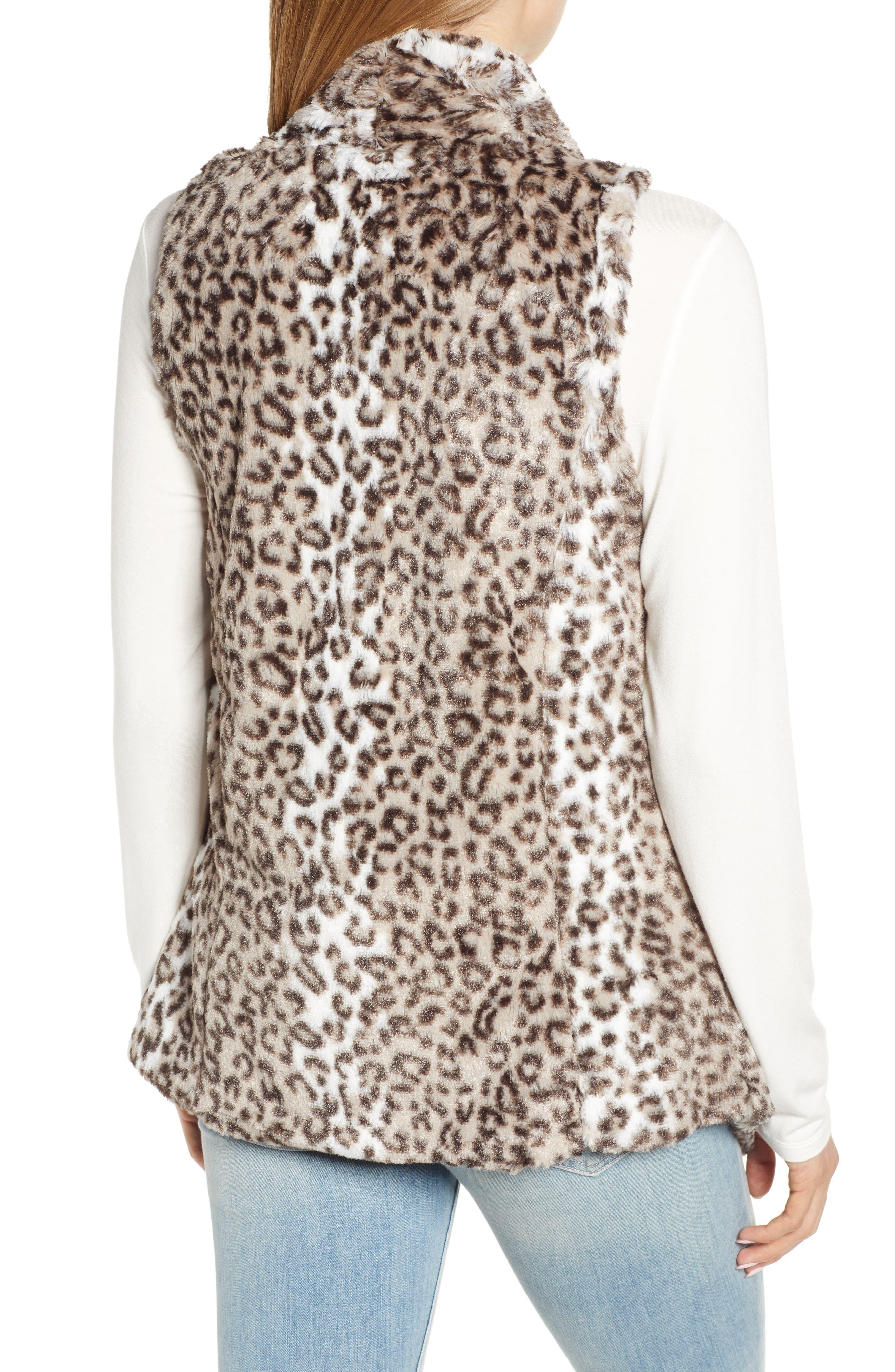 Draped Faux Leopard Fur Vest,                             Alternate thumbnail 2, color,                             LIGHT CASHMERE