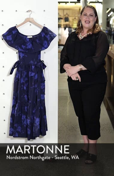 hibiscus off the shoulder cotton dress, sales video thumbnail