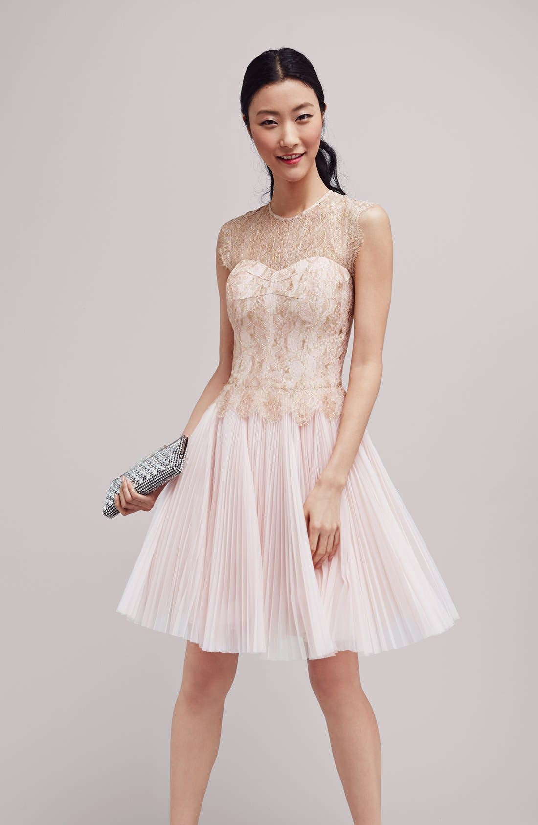 'Remma' Metallic Lace Overlay Fit & Flare Dress,                             Alternate thumbnail 6, color,                             672