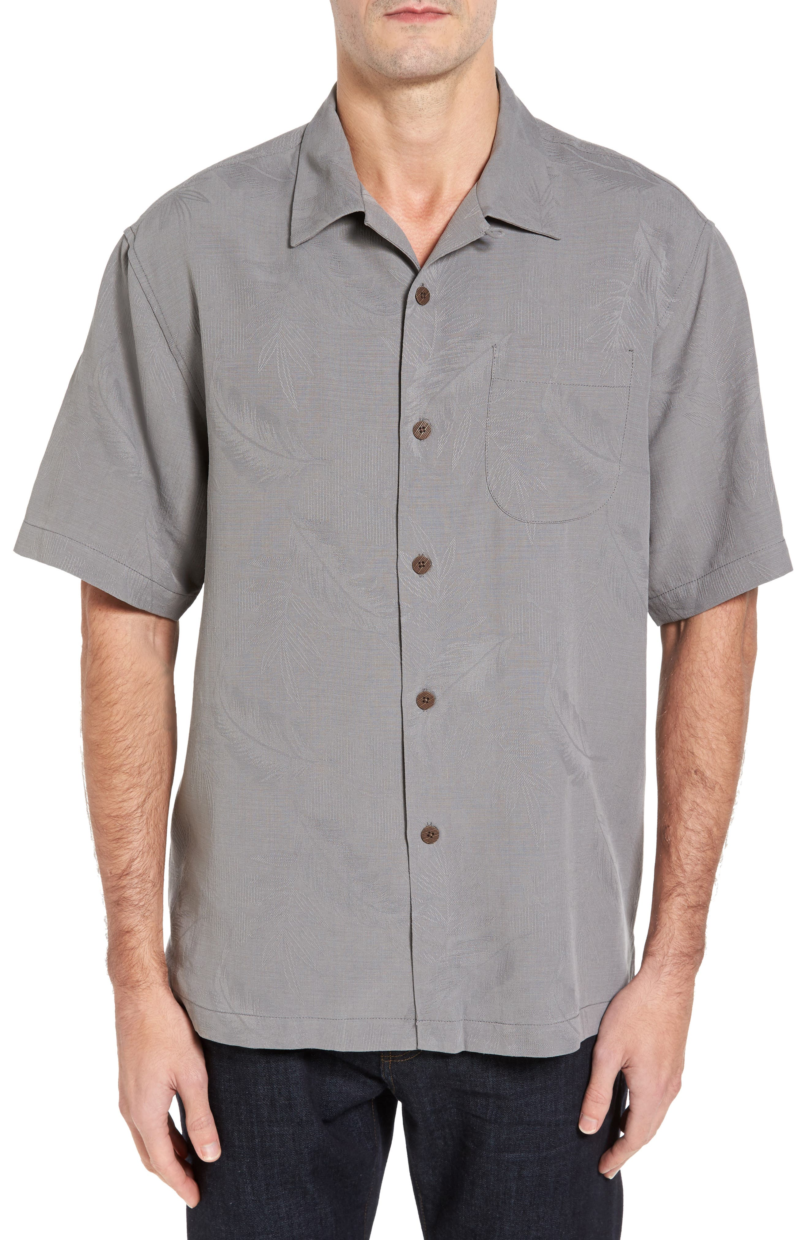Rio Fronds Short Sleeve Silk Sport Shirt,                             Main thumbnail 2, color,