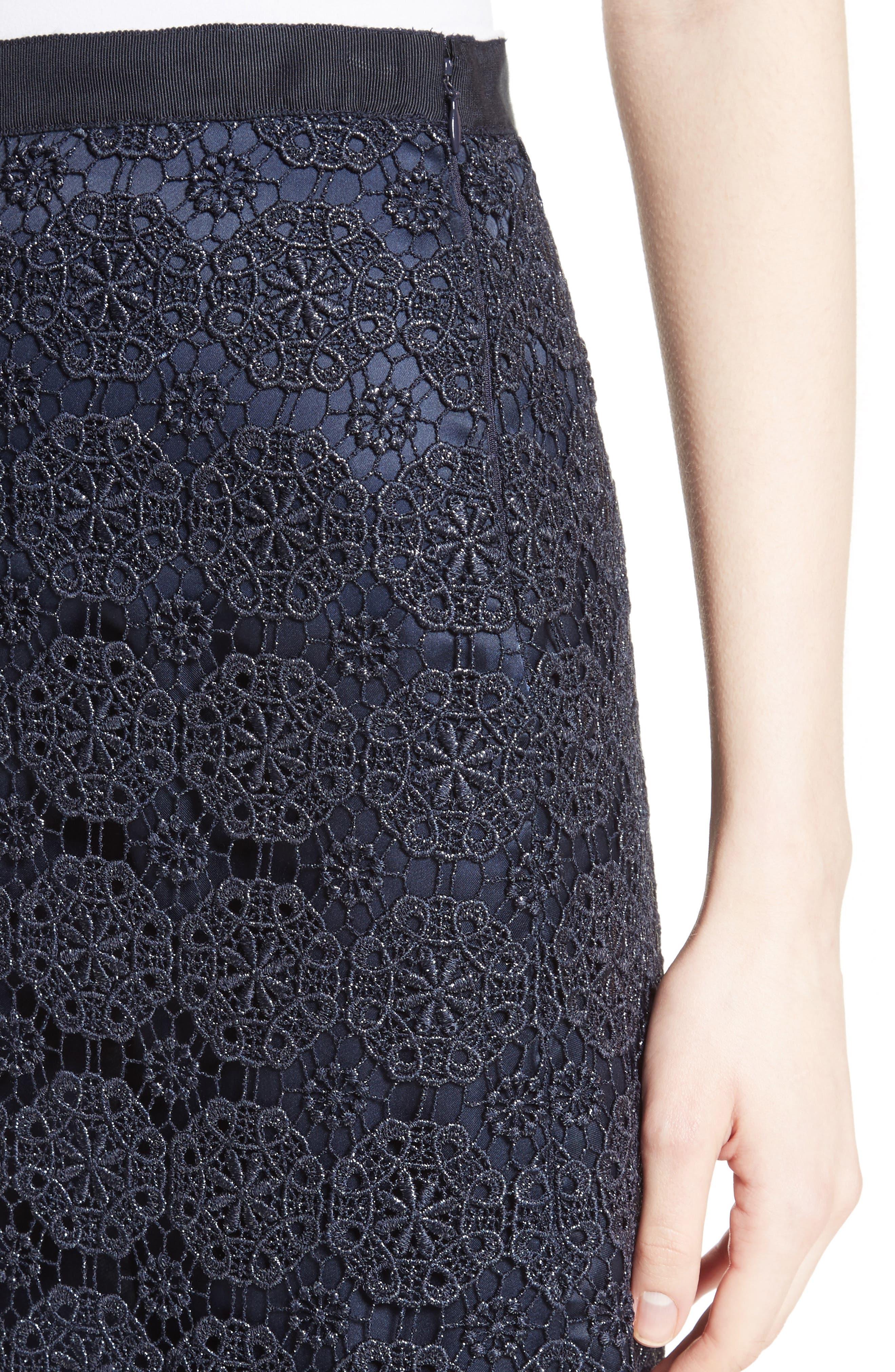Metallic Guipure Lace Skirt,                             Alternate thumbnail 4, color,                             410
