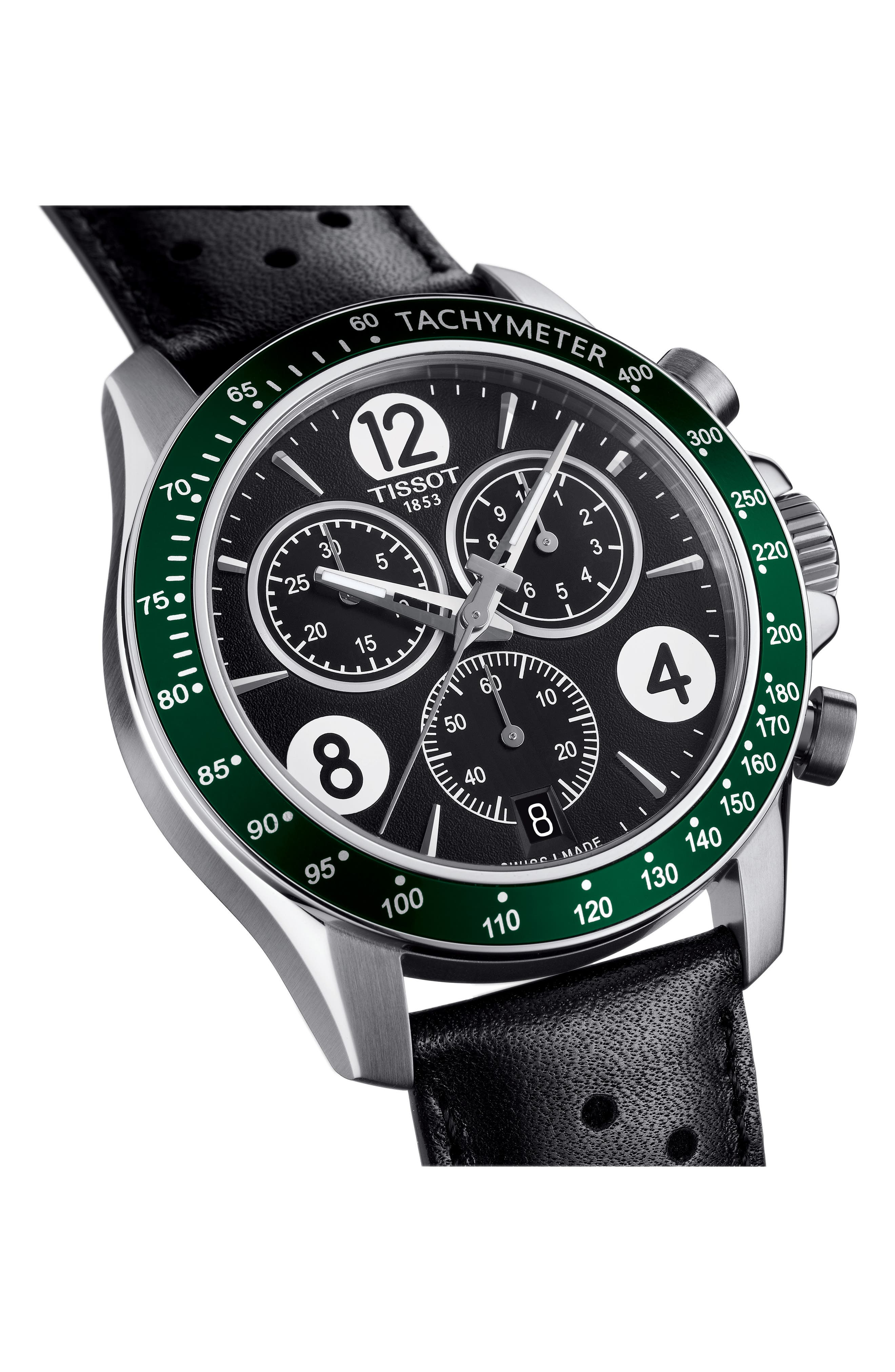 V8 Chronographic Leather Strap Watch, 43mm,                             Alternate thumbnail 2, color,                             BLACK/ GREEN/ SILVER