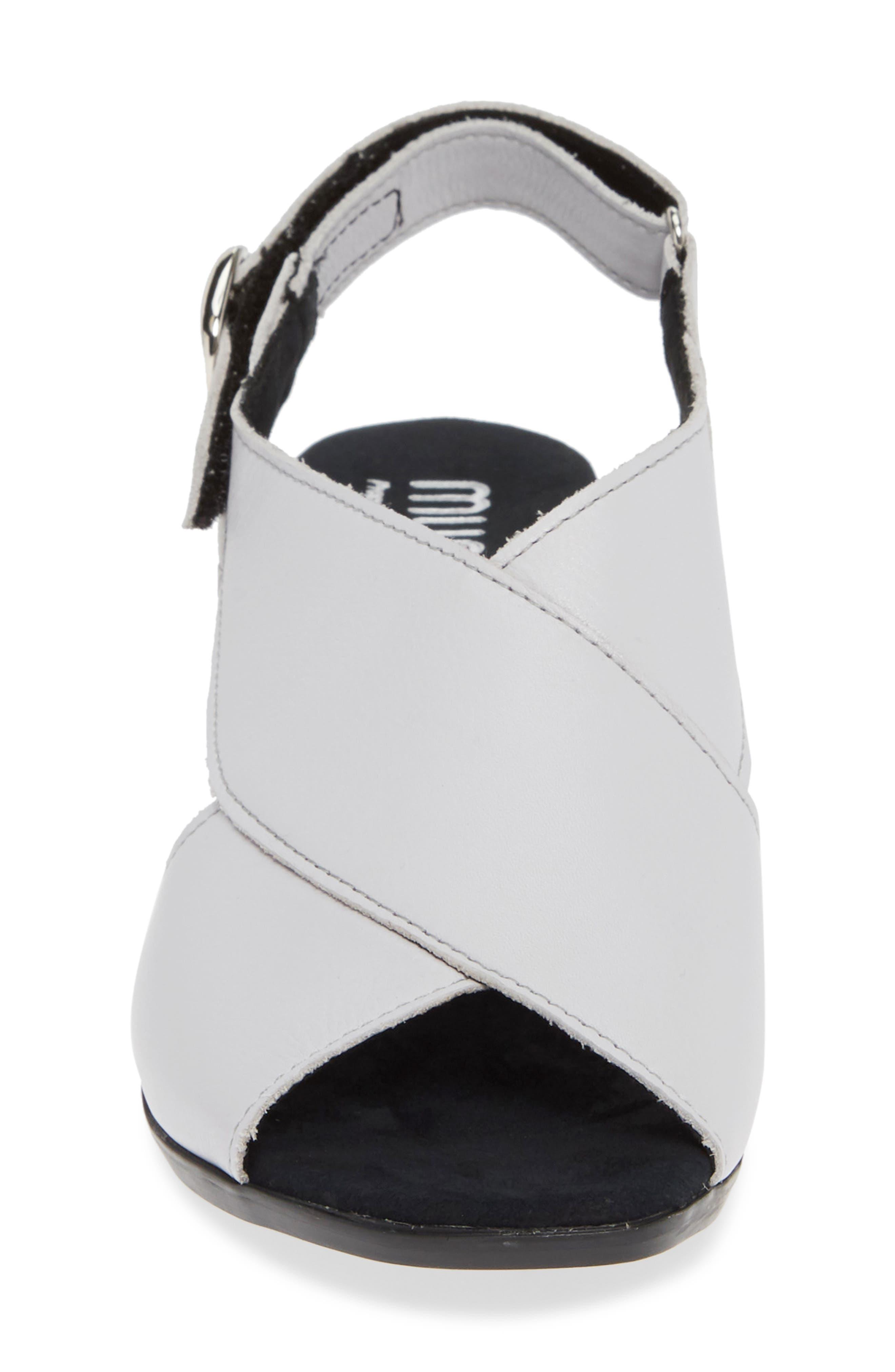 Laine Block Heel Sandal,                             Alternate thumbnail 4, color,                             WHITE LEATHER