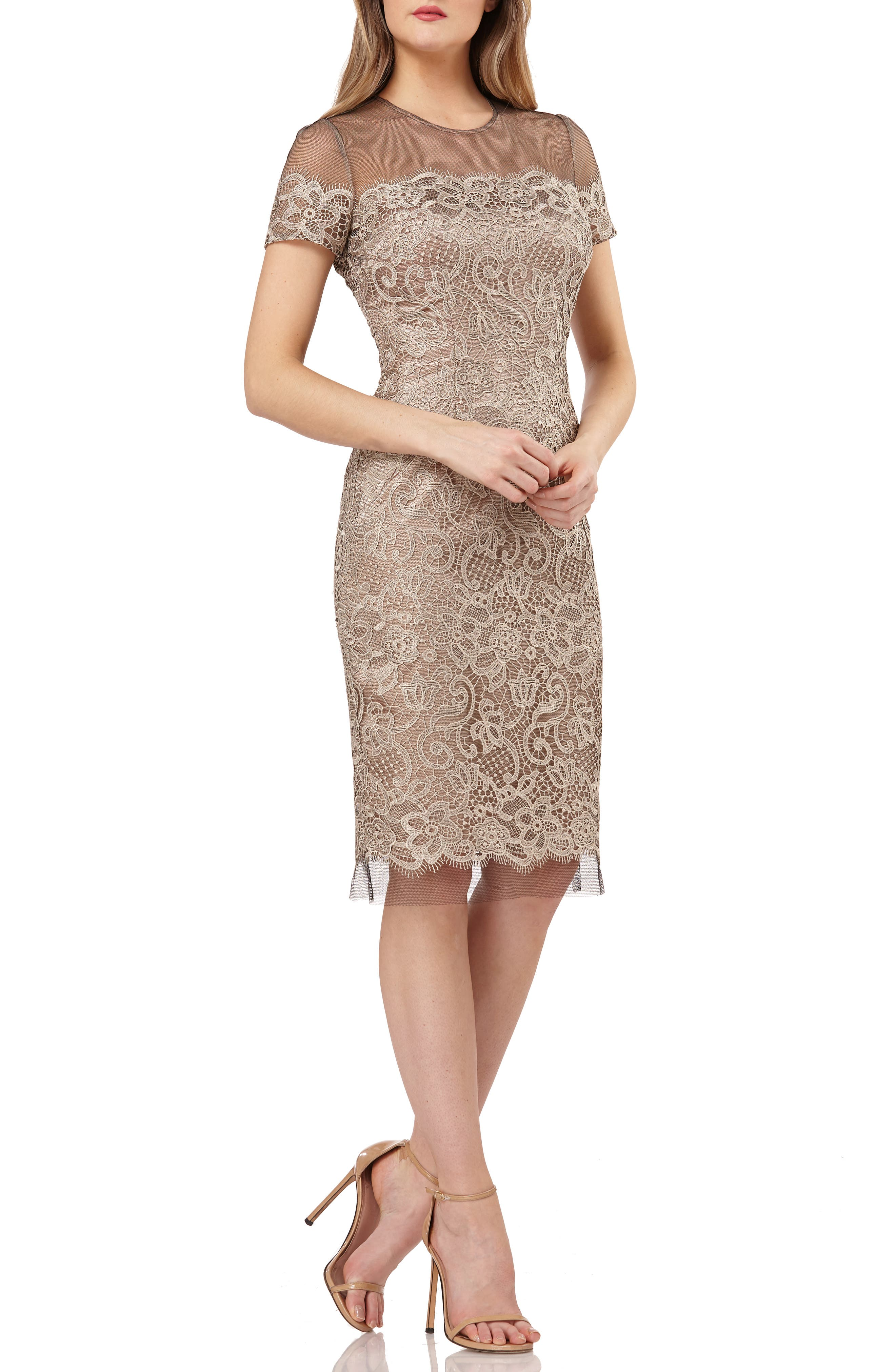 JS COLLECTIONS,                             Embroidered Lace Sheath Dress,                             Main thumbnail 1, color,                             BLACK/ OYSTER