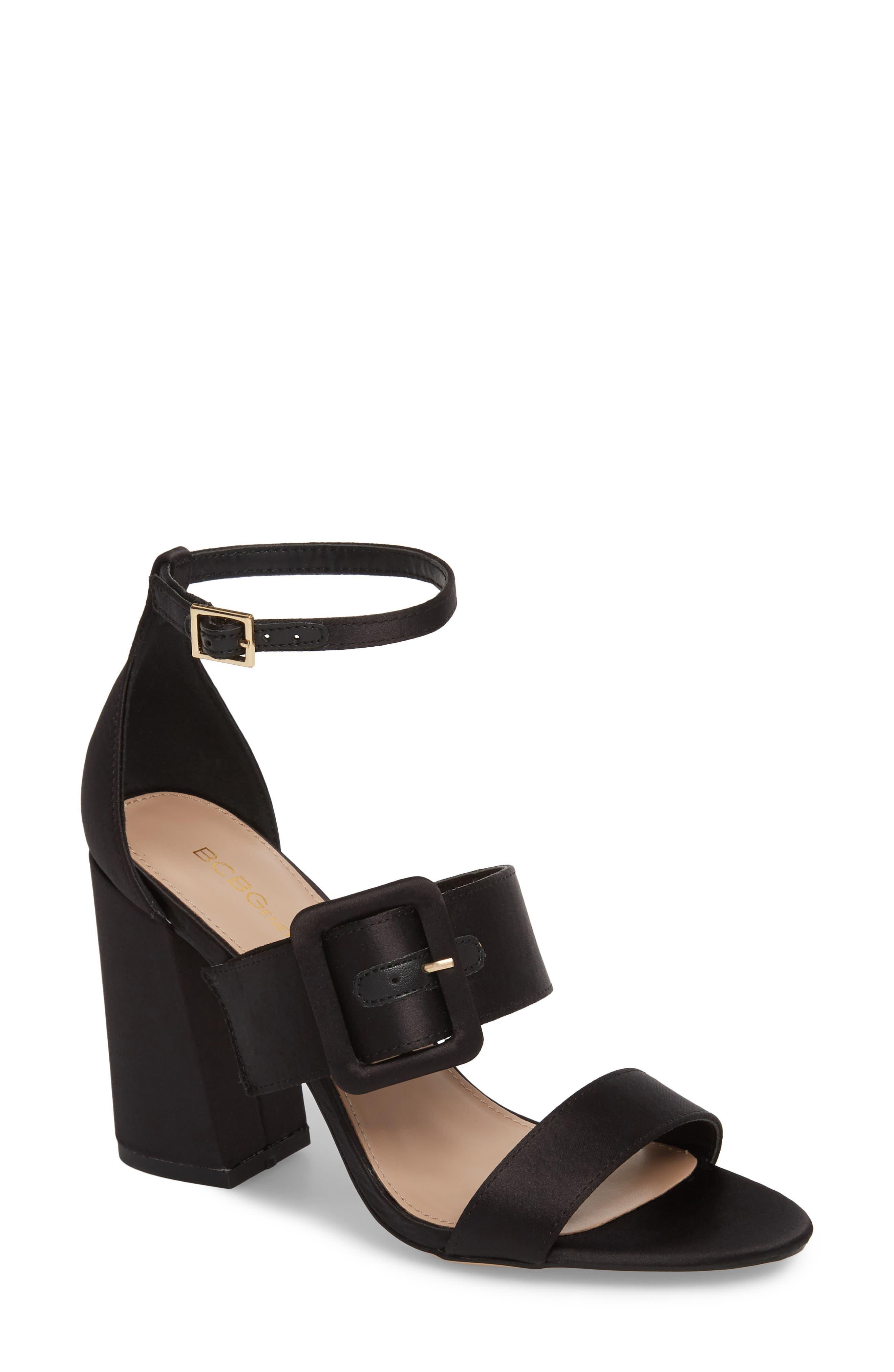 Raelynn Ankle Strap Sandal,                             Main thumbnail 1, color,                             BLACK SATIN