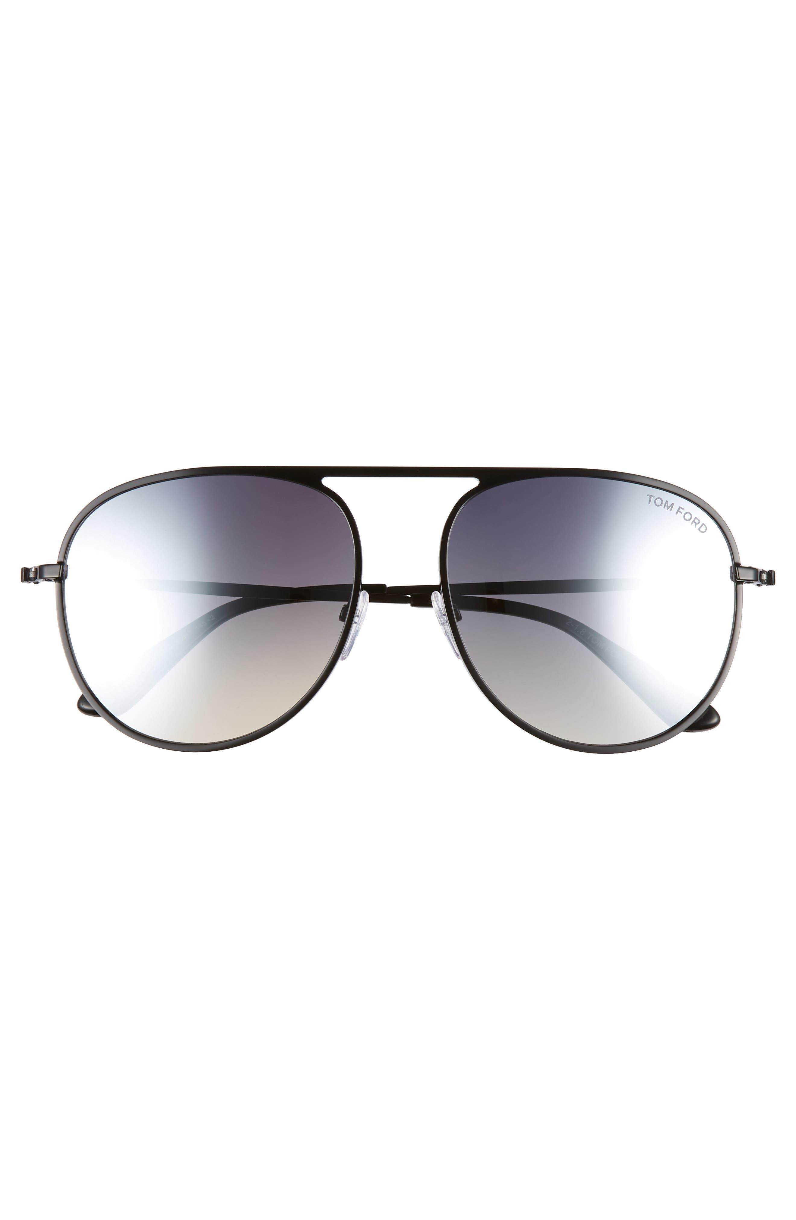 59mm Aviator Sunglasses,                             Alternate thumbnail 3, color,                             SHINY BLACK/ SMOKE MIRROR