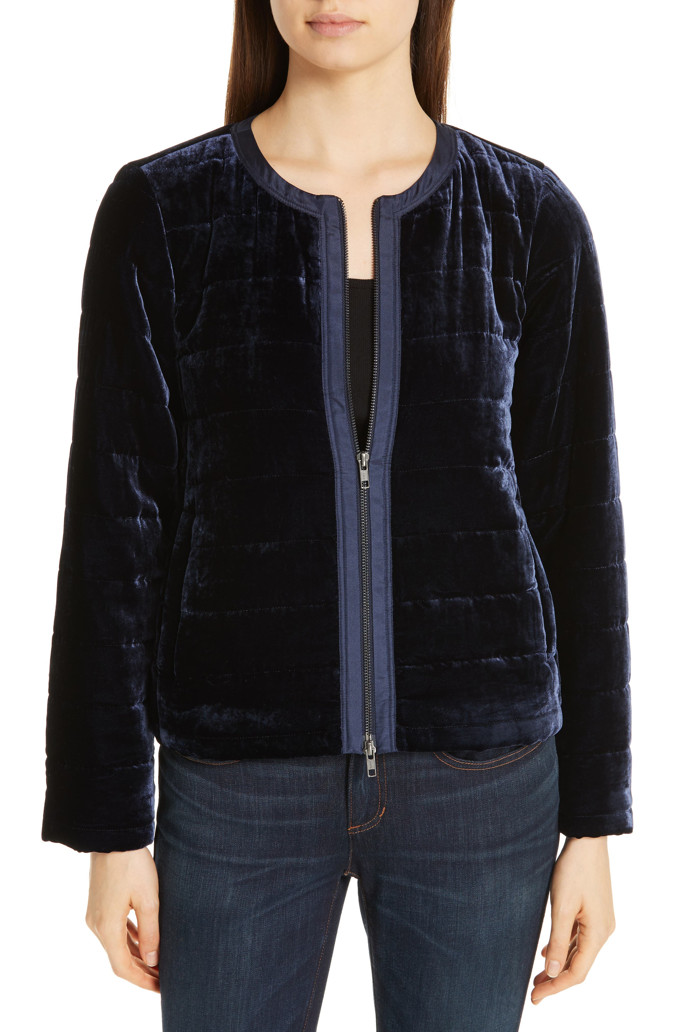 Quilted Velvet Jacket,                             Main thumbnail 1, color,                             MIDNIGHT
