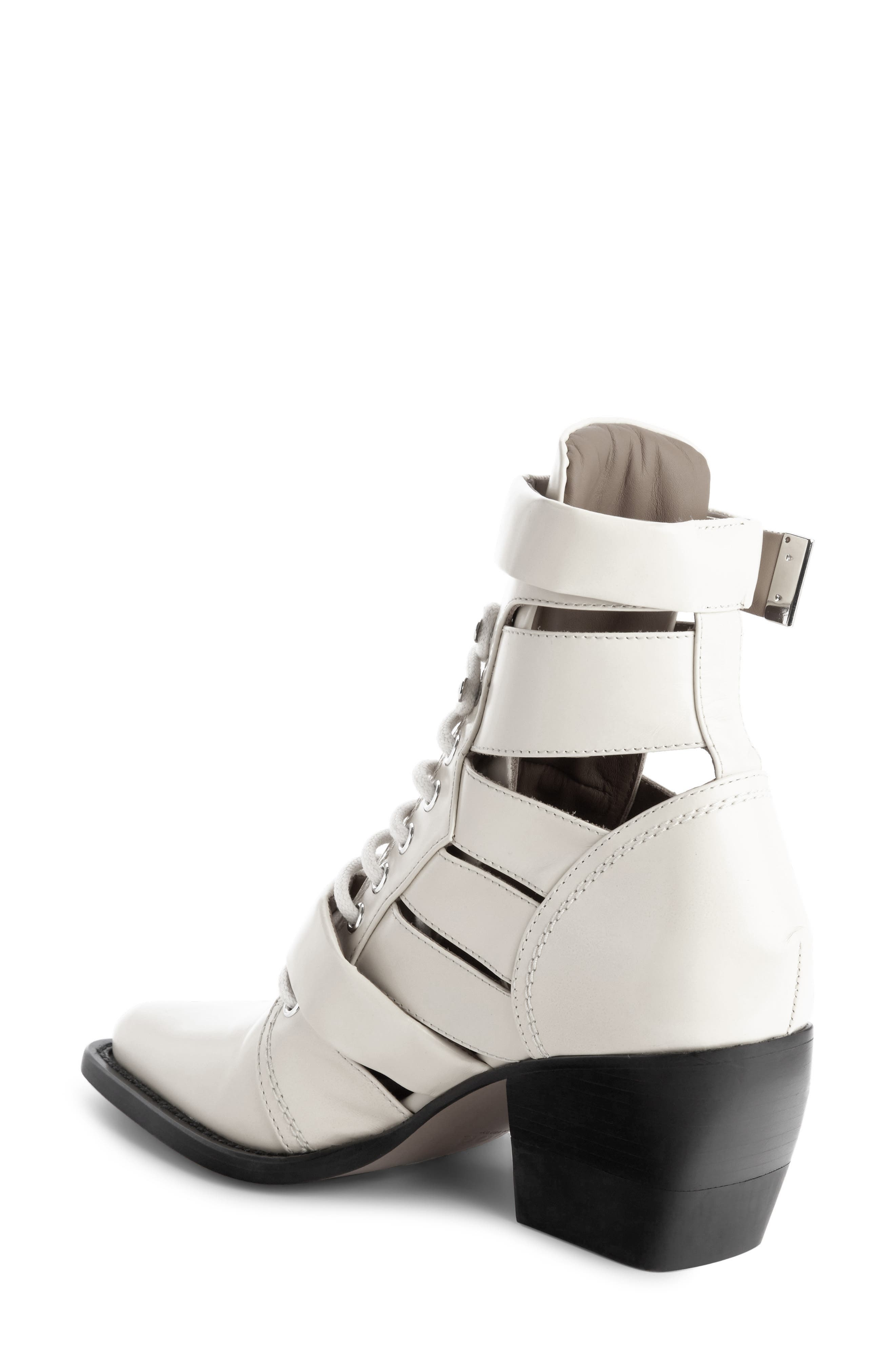 CHLOÉ,                             Rylee Caged Pointy Toe Boot,                             Alternate thumbnail 2, color,                             WHITE