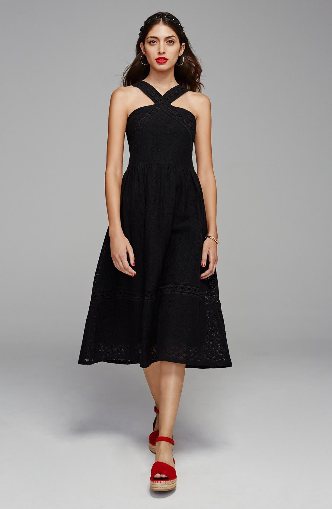 Lace Fit & Flare Midi Dress,                             Alternate thumbnail 6, color,                             001