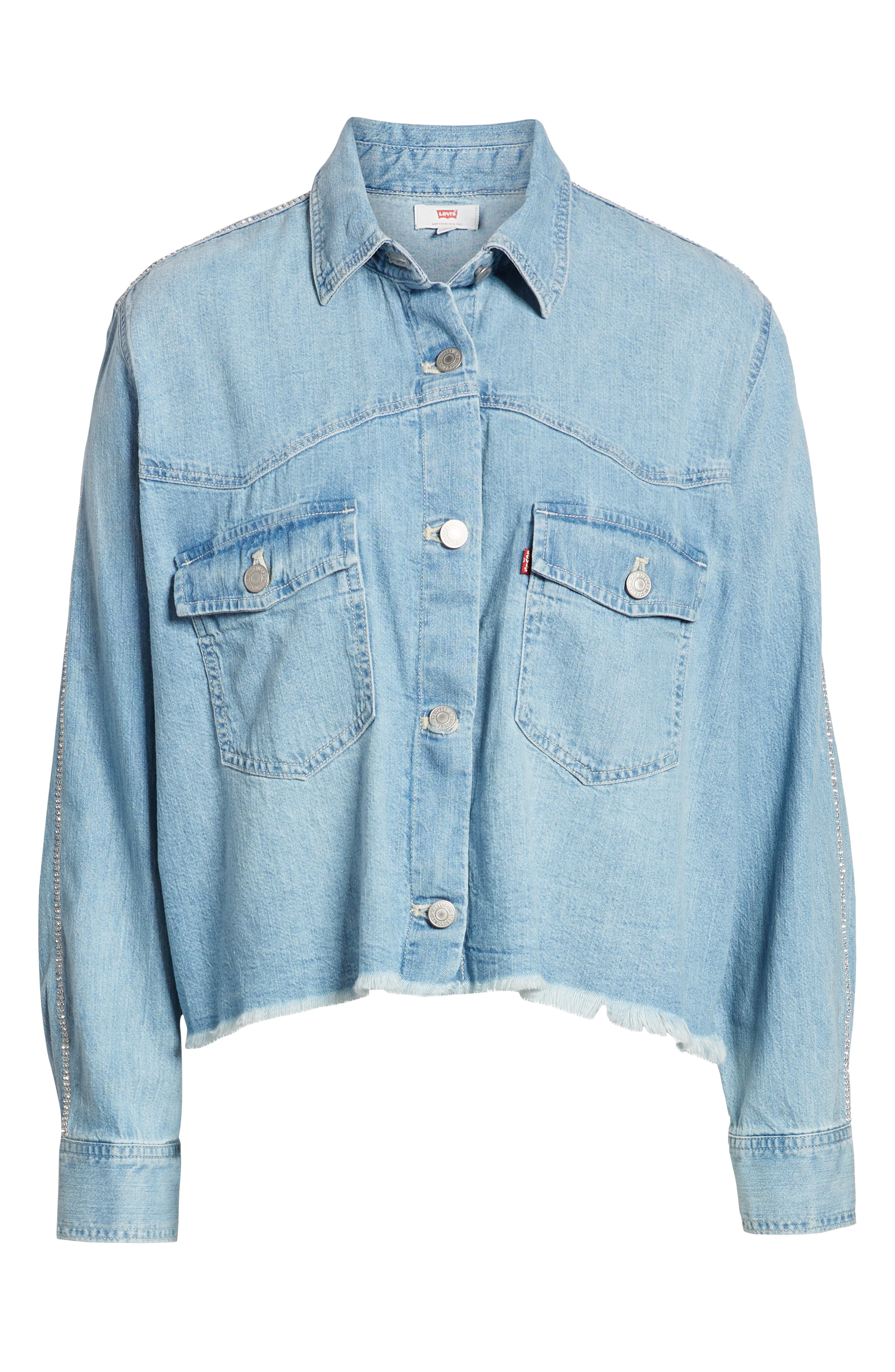 LEVI'S<SUP>®</SUP>,                             Addison Crop Denim Shirt,                             Alternate thumbnail 6, color,                             400