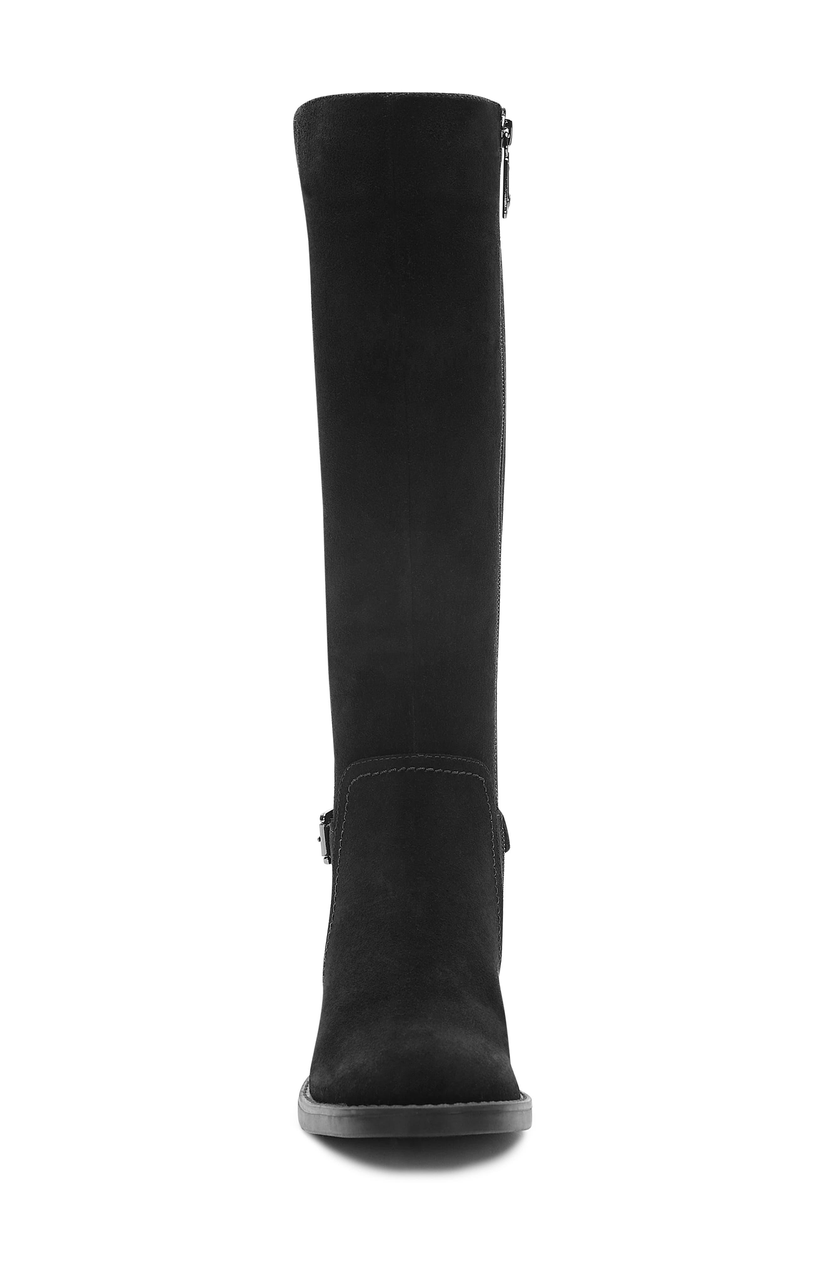 Evie Riding Boot,                             Alternate thumbnail 4, color,                             BLACK SUEDE