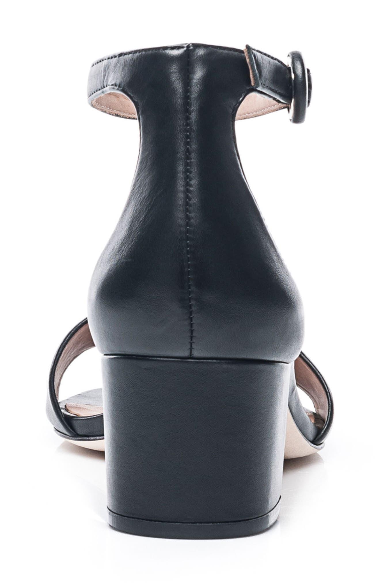 Bernardo Belinda Ankle Strap Sandal,                             Alternate thumbnail 7, color,                             BLACK LEATHER