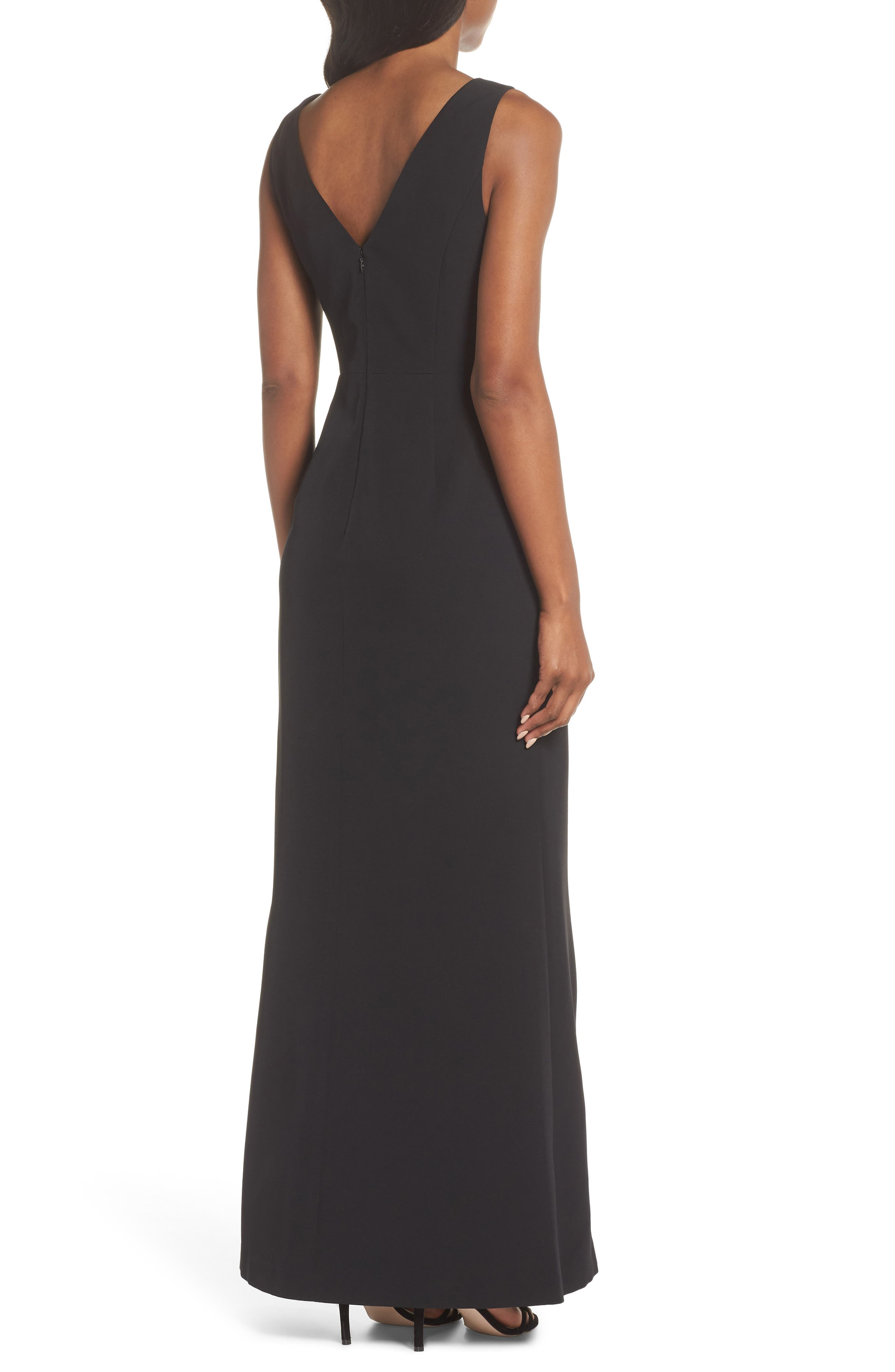 Ruffle Front Gown,                             Alternate thumbnail 2, color,                             BLACK