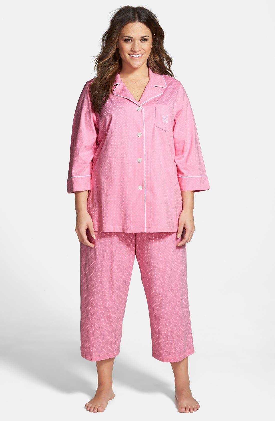Knit Crop Pajamas,                             Main thumbnail 7, color,