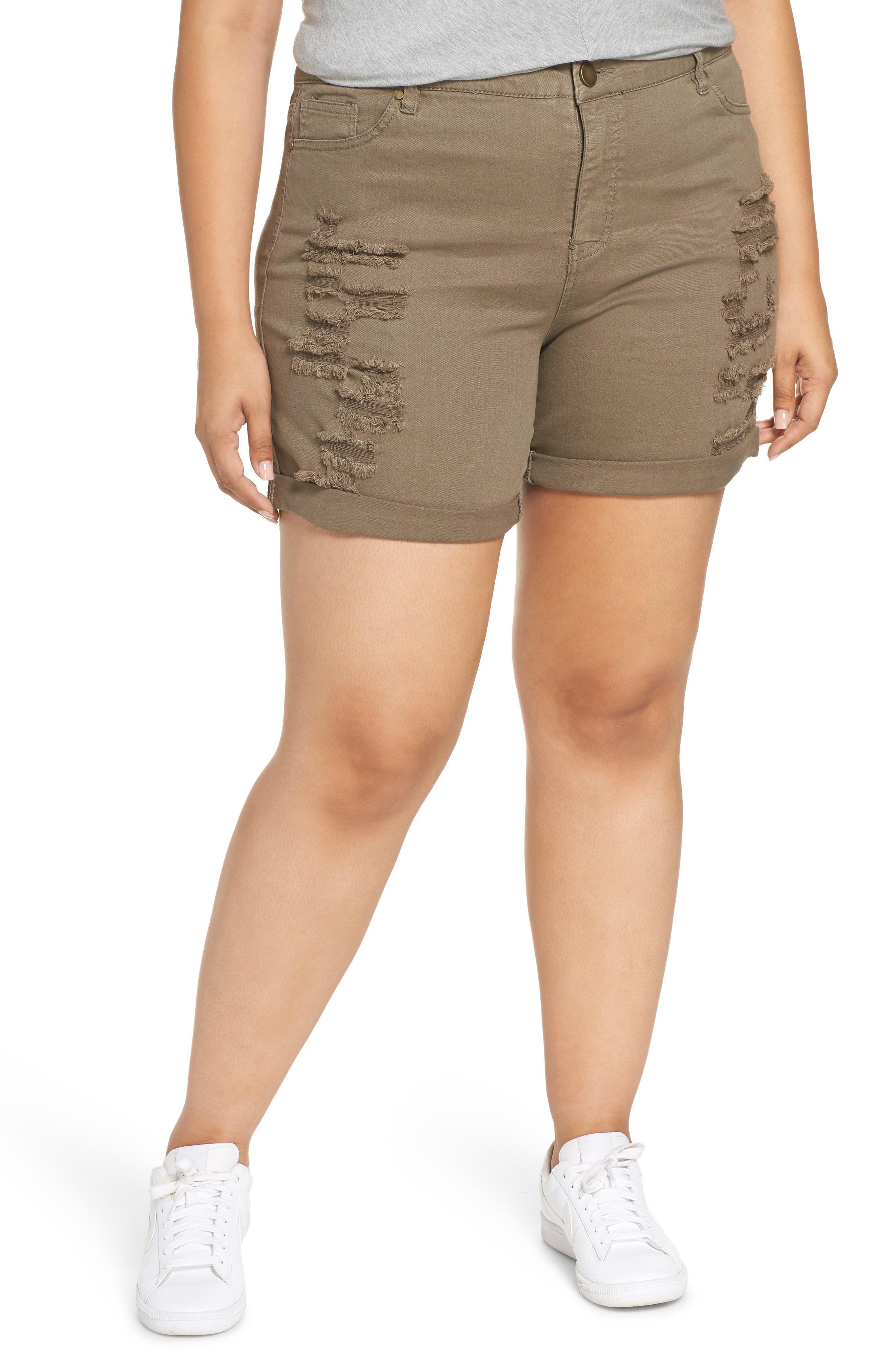 Ripped Bermuda Shorts,                         Main,                         color, OLIVE