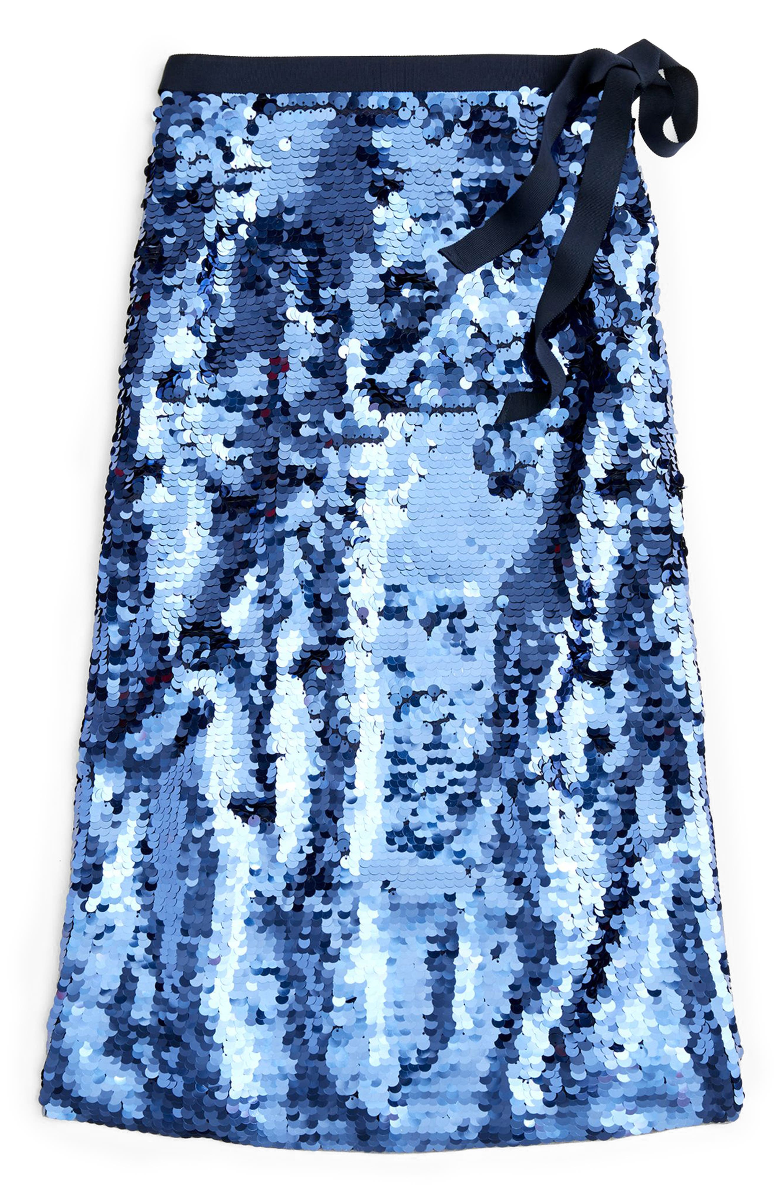 Sequin Midi Skirt with Tie,                             Alternate thumbnail 5, color,                             NAVY