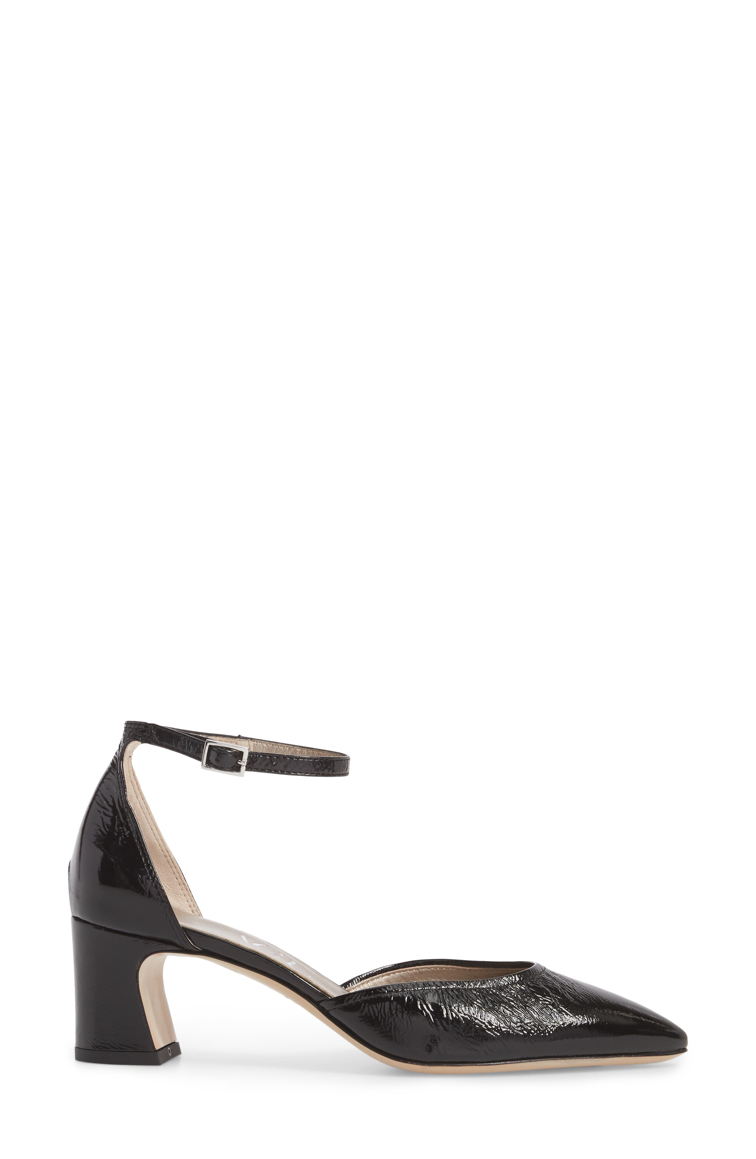 d'Orsay Ankle Strap Pump,                             Alternate thumbnail 3, color,                             BLACK GLAMMY LEATHER