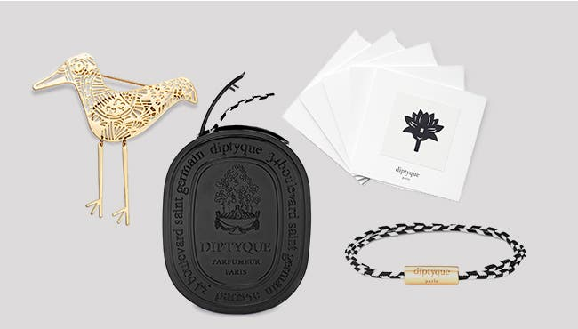 Whimsical accessories from diptyque.