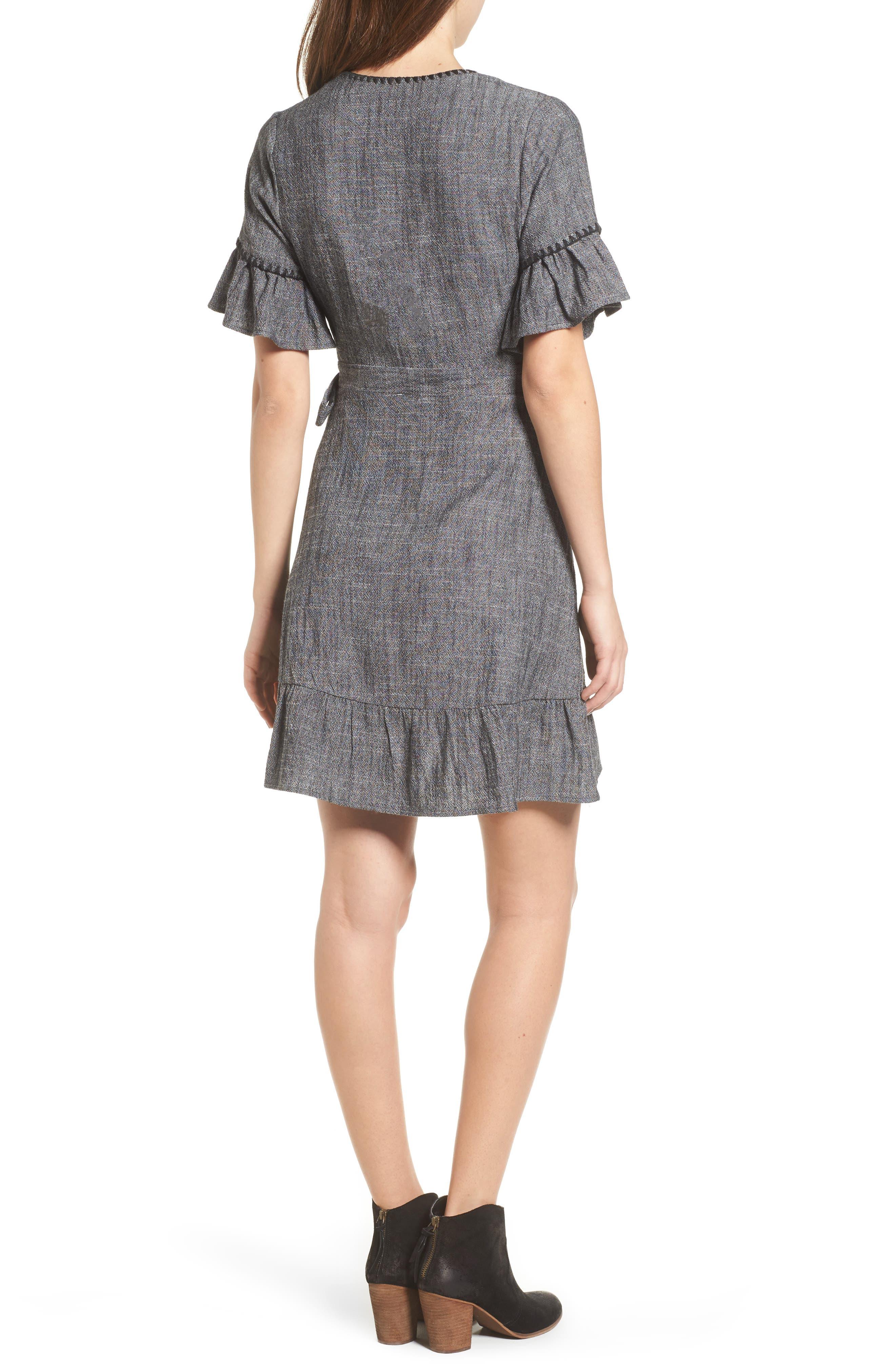 Blanket Stitch Wrap Dress,                             Alternate thumbnail 3, color,