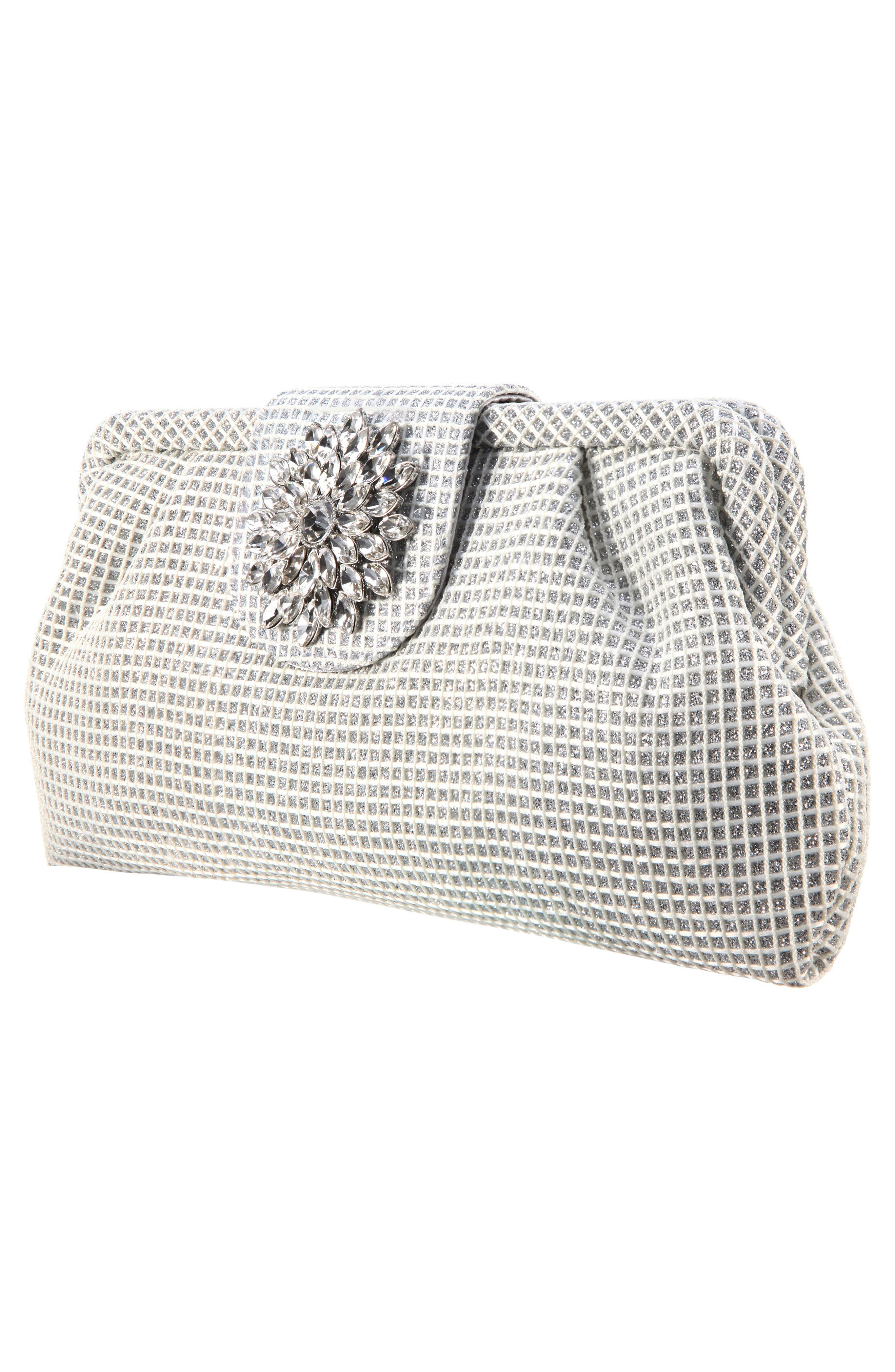 NINA,                             Hampton Embellished Frame Clutch,                             Alternate thumbnail 3, color,                             SILVER