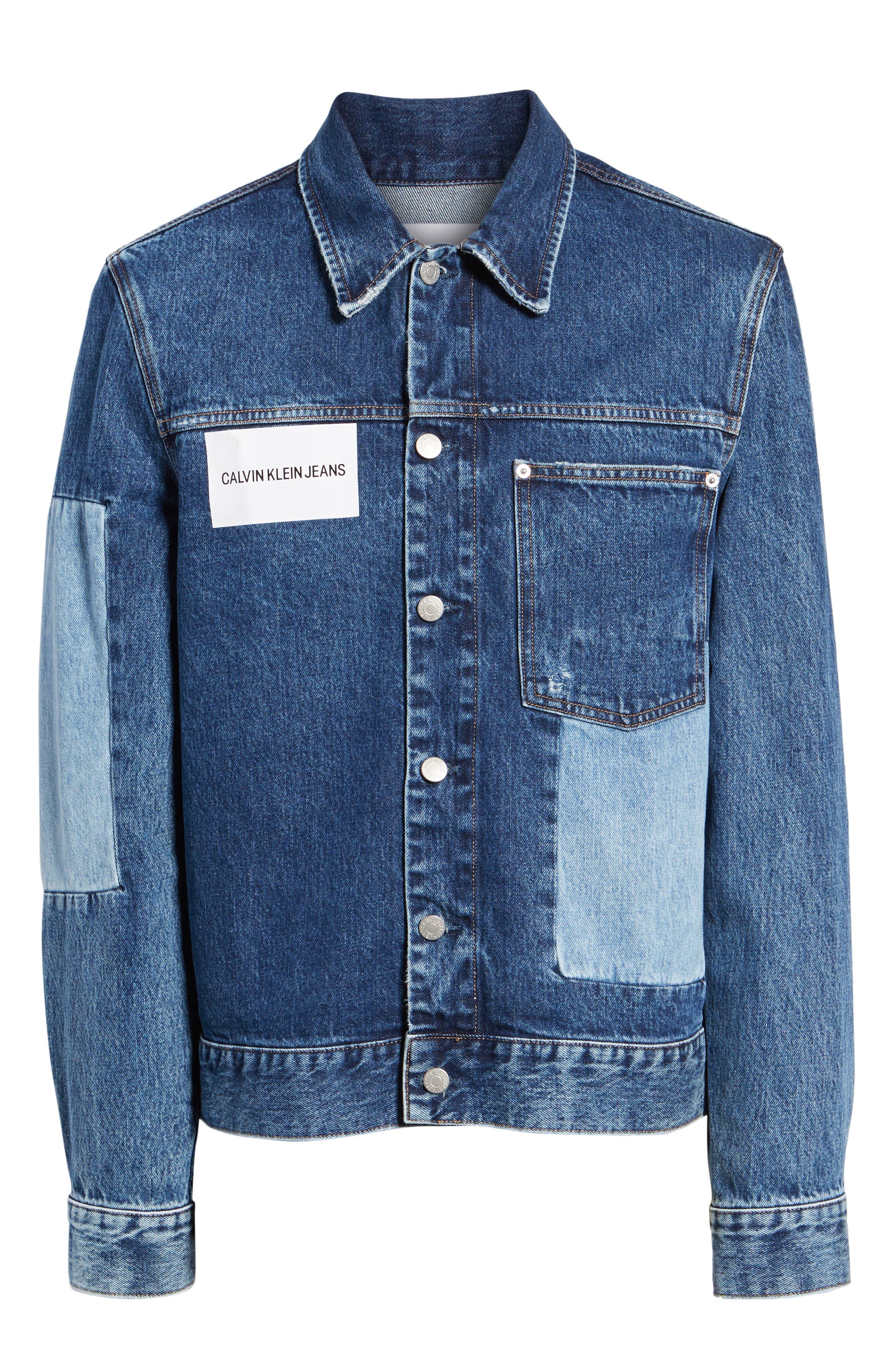 CALVIN KLEIN JEANS,                             Patch One-Pocket Denim Jacket,                             Alternate thumbnail 6, color,                             400