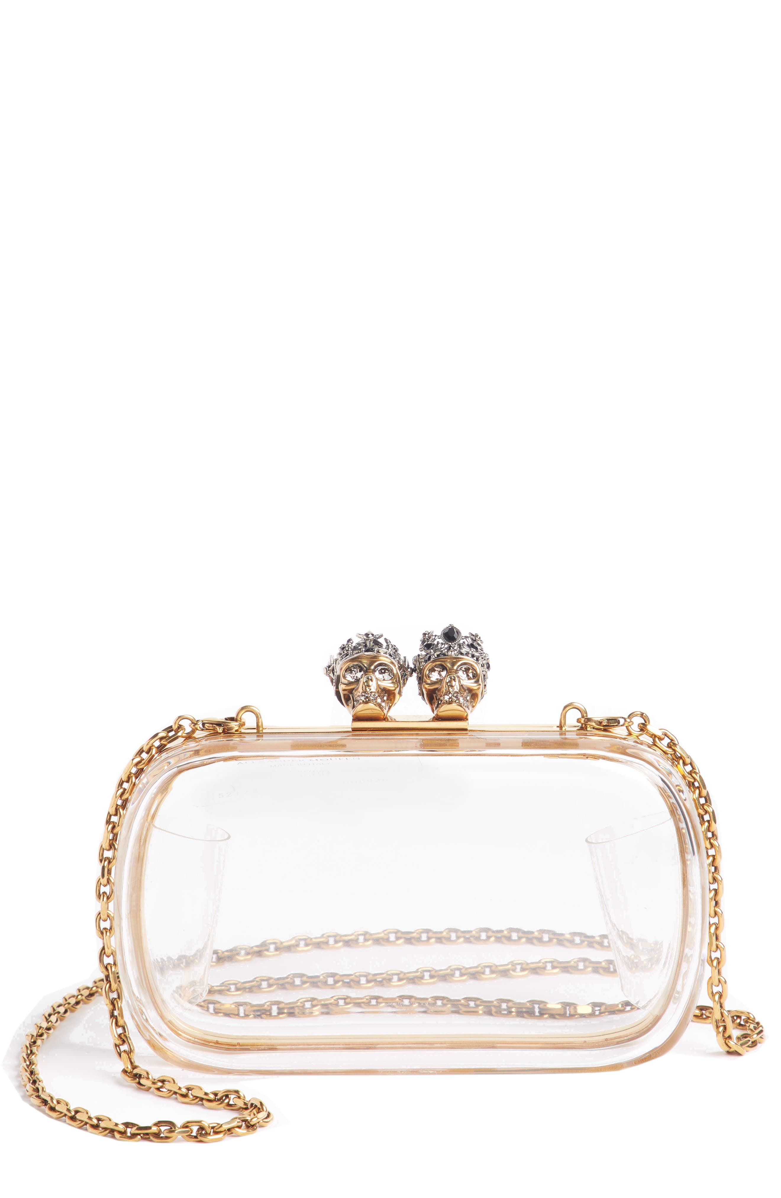 Queen & King Transparent Box Clutch,                         Main,                         color, TRASPARENTE