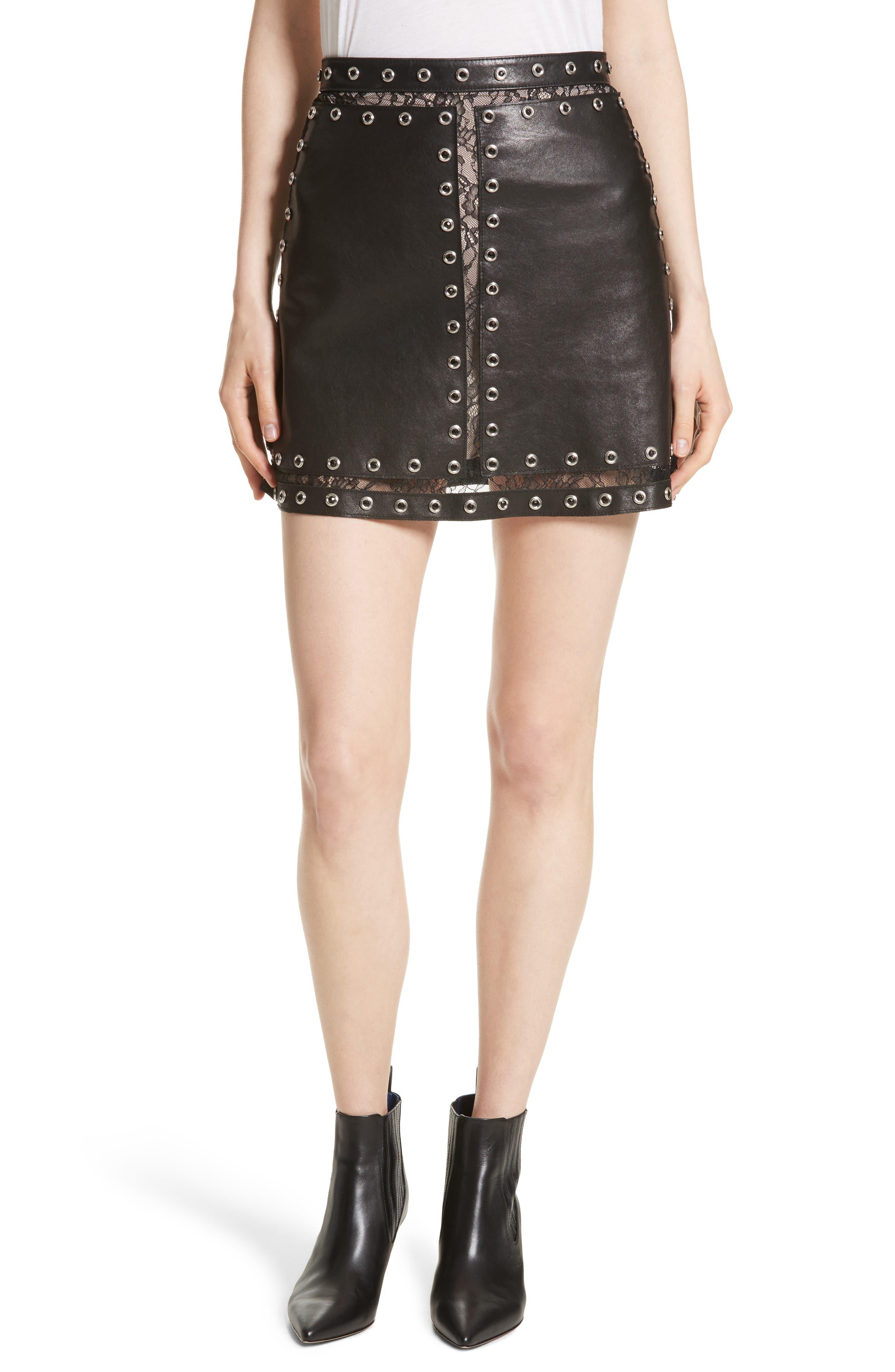 Riley Studded Leather Mini Skirt,                         Main,                         color, 001