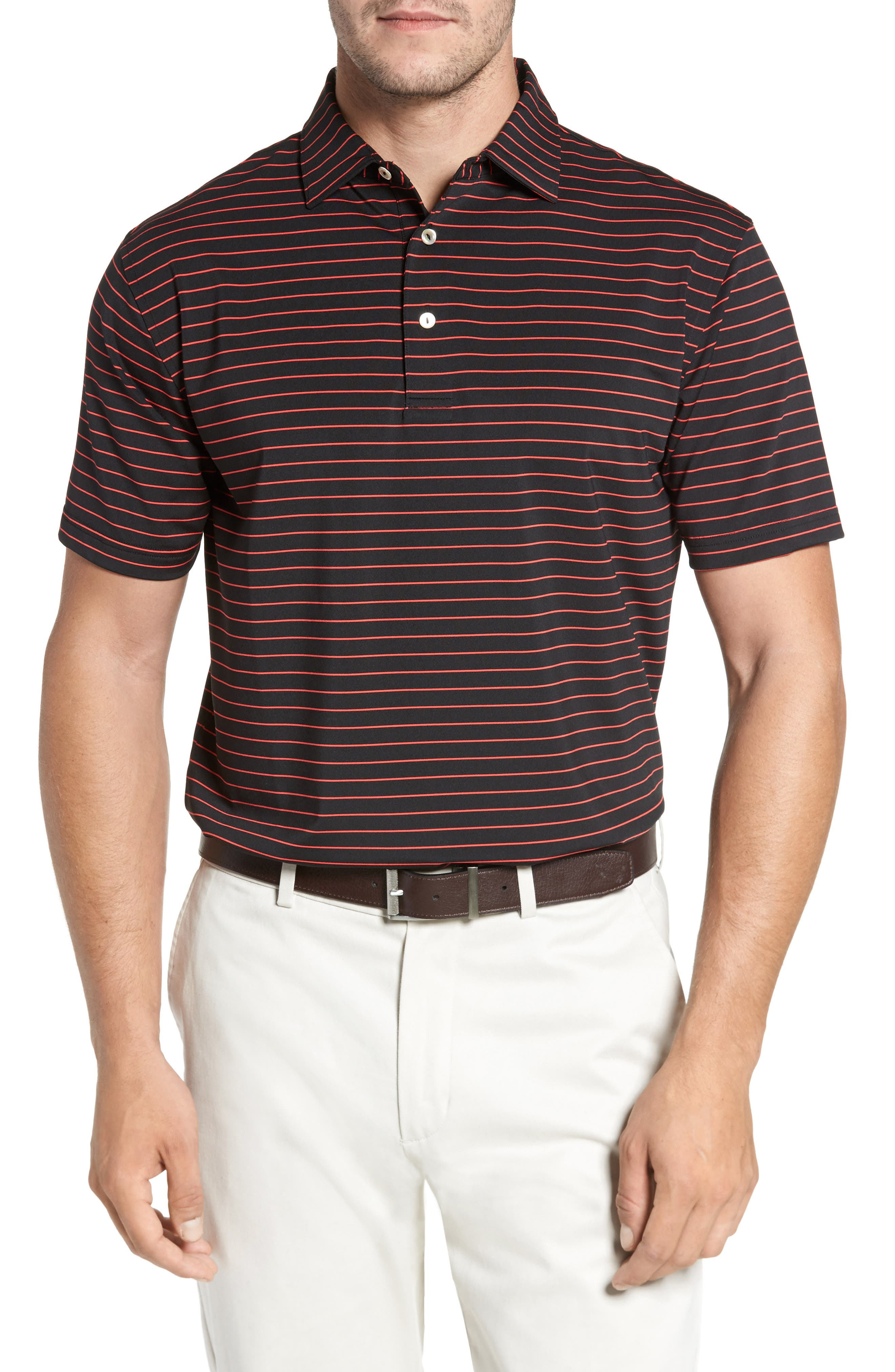 Halifax Pinstripe Stretch Jersey Polo,                             Main thumbnail 1, color,                             001