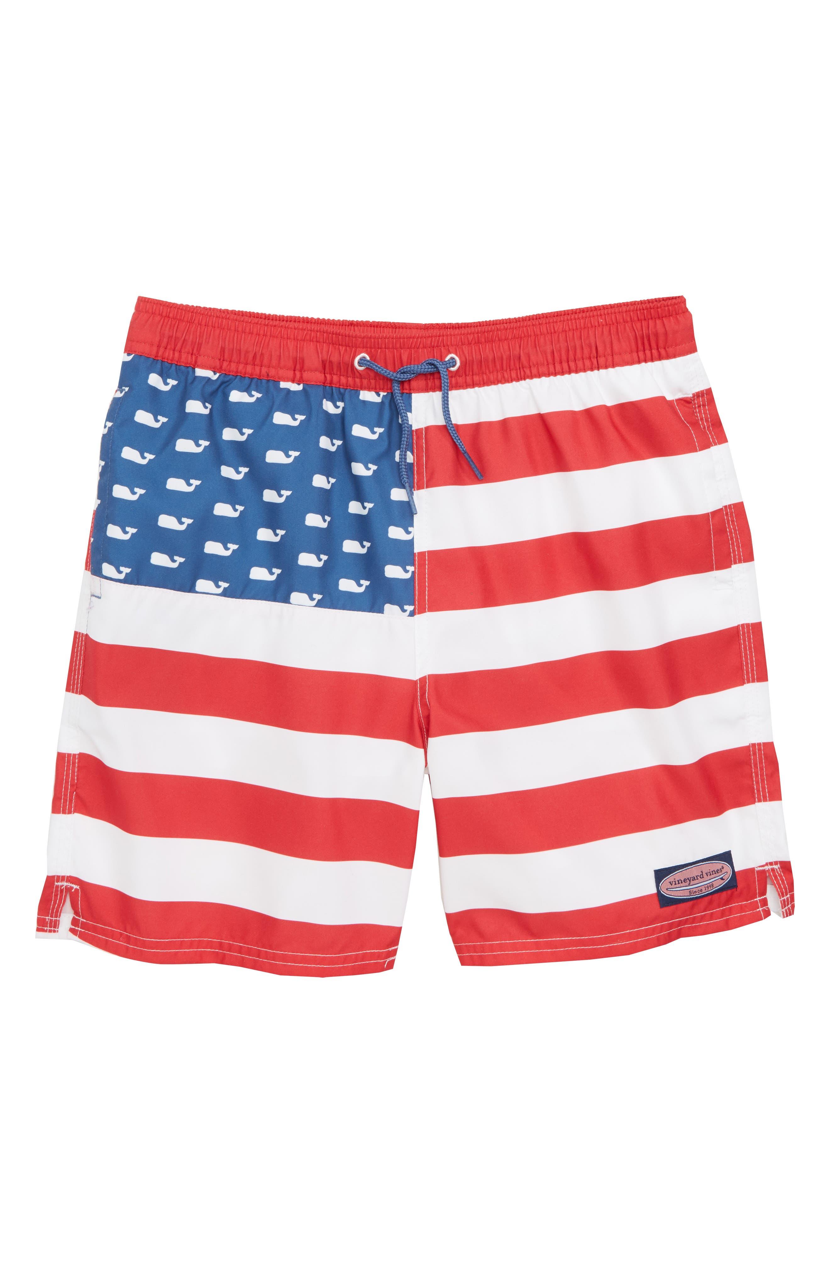 VINEYARD VINES Chappy USA Flag Swim Trunks, Main, color, 461